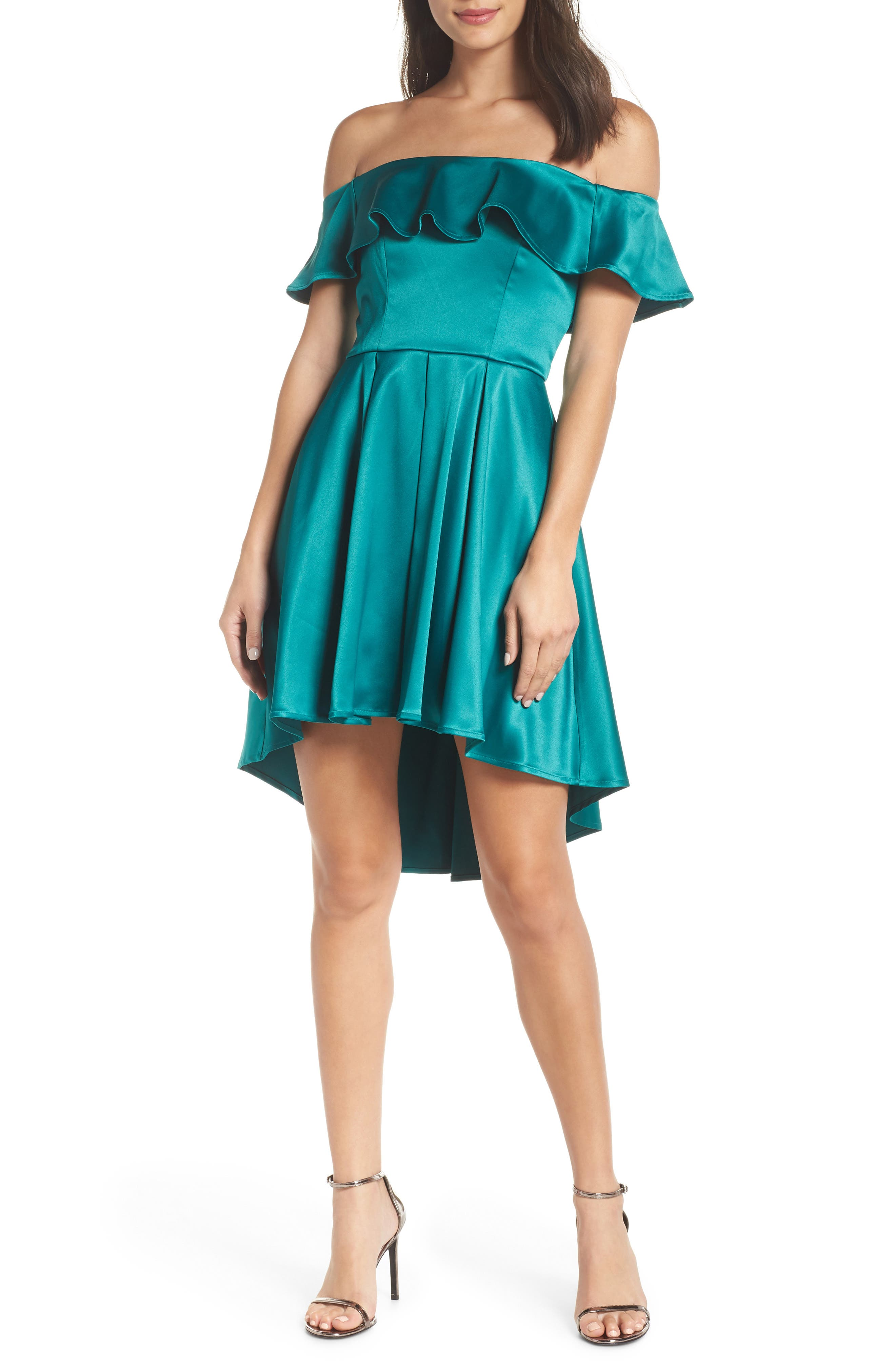 Off the Shoulder Satin High/Low Cocktail Dress,                             Main thumbnail 1, color,                             EMERALD