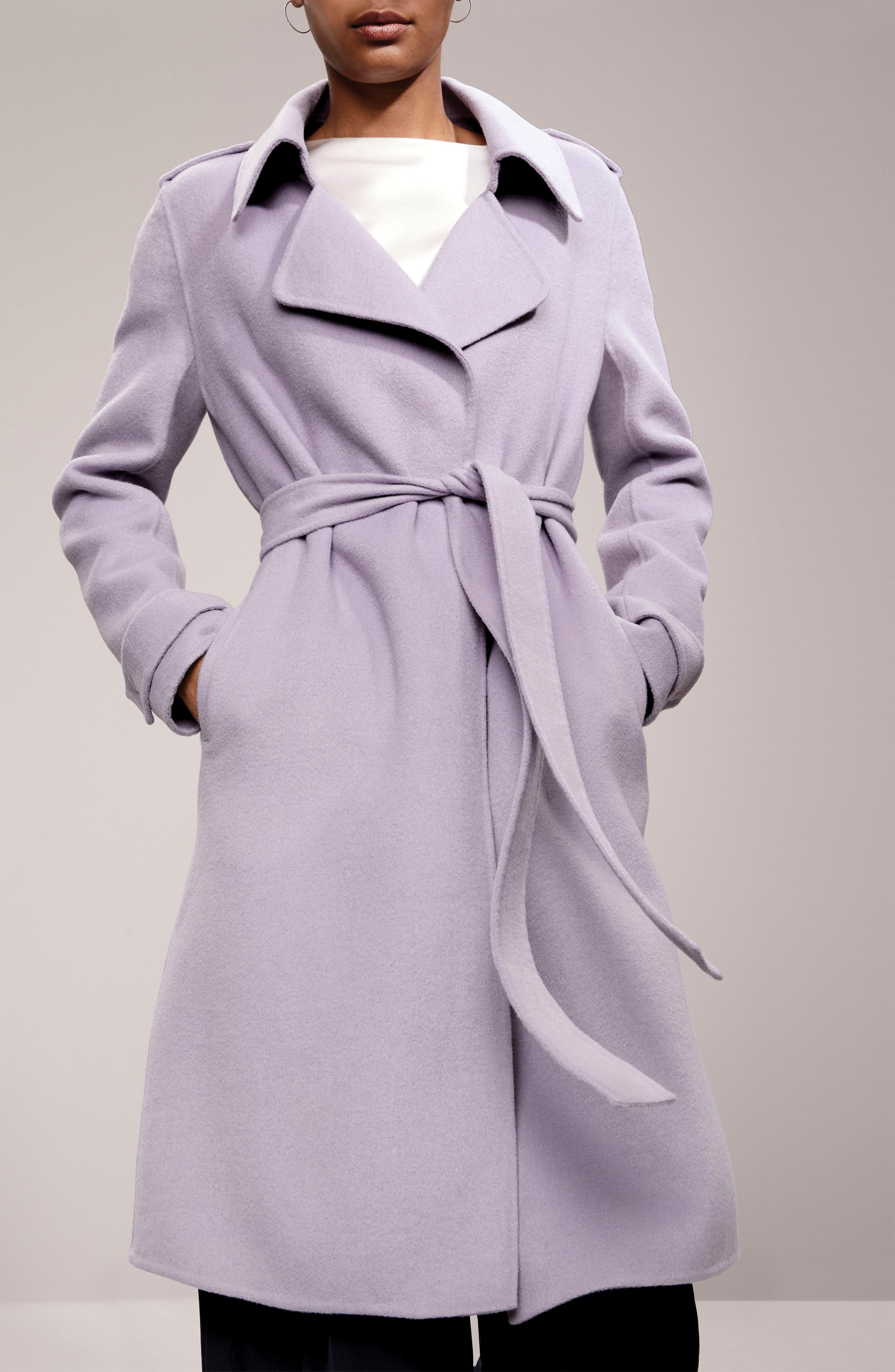 Double Face Wool Blend Wrap Front Coat,                             Alternate thumbnail 9, color,                             LAVENDER
