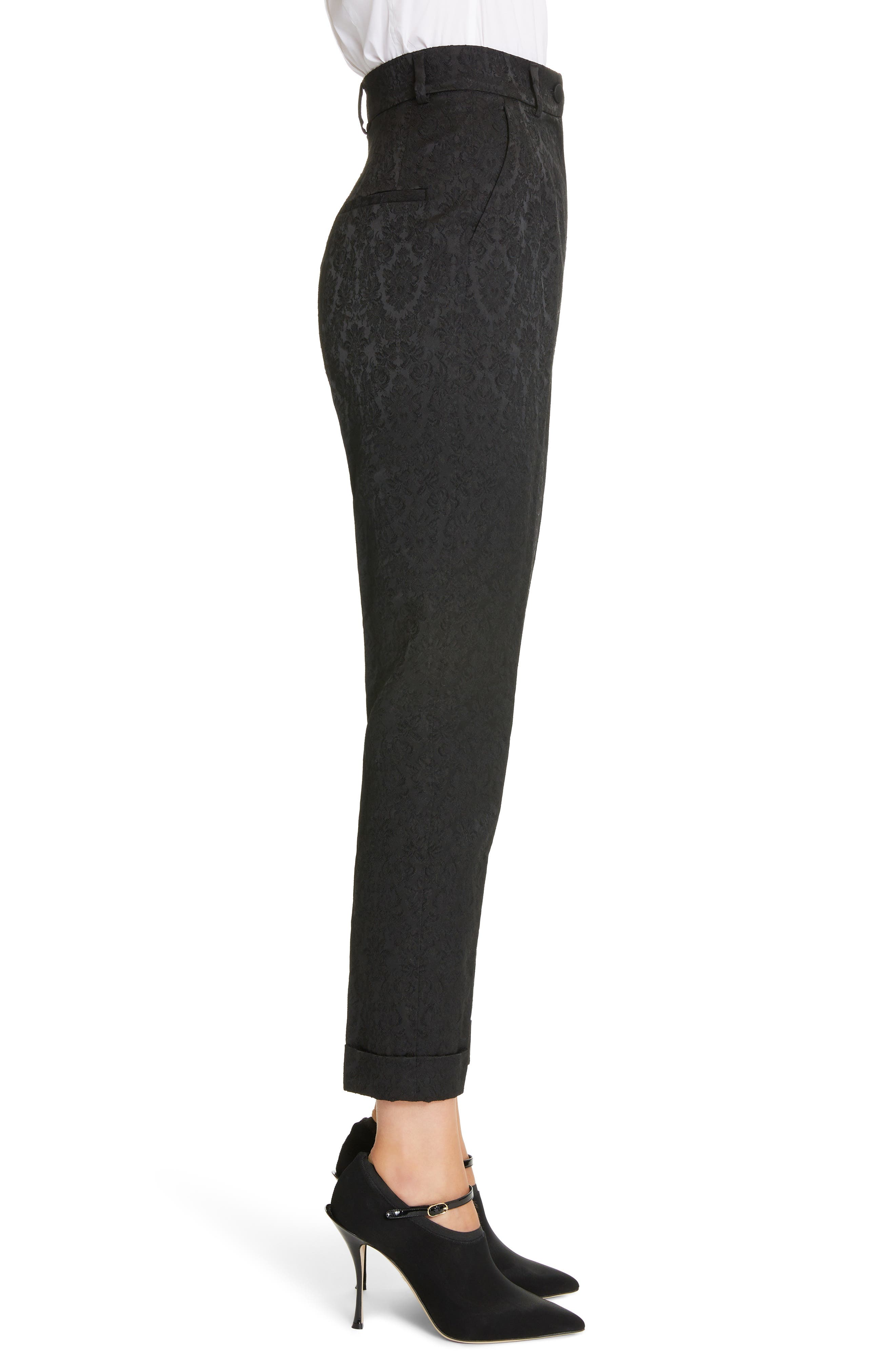 Jacquard Cuff Skinny Pants,                             Alternate thumbnail 3, color,                             N0000 BLACK
