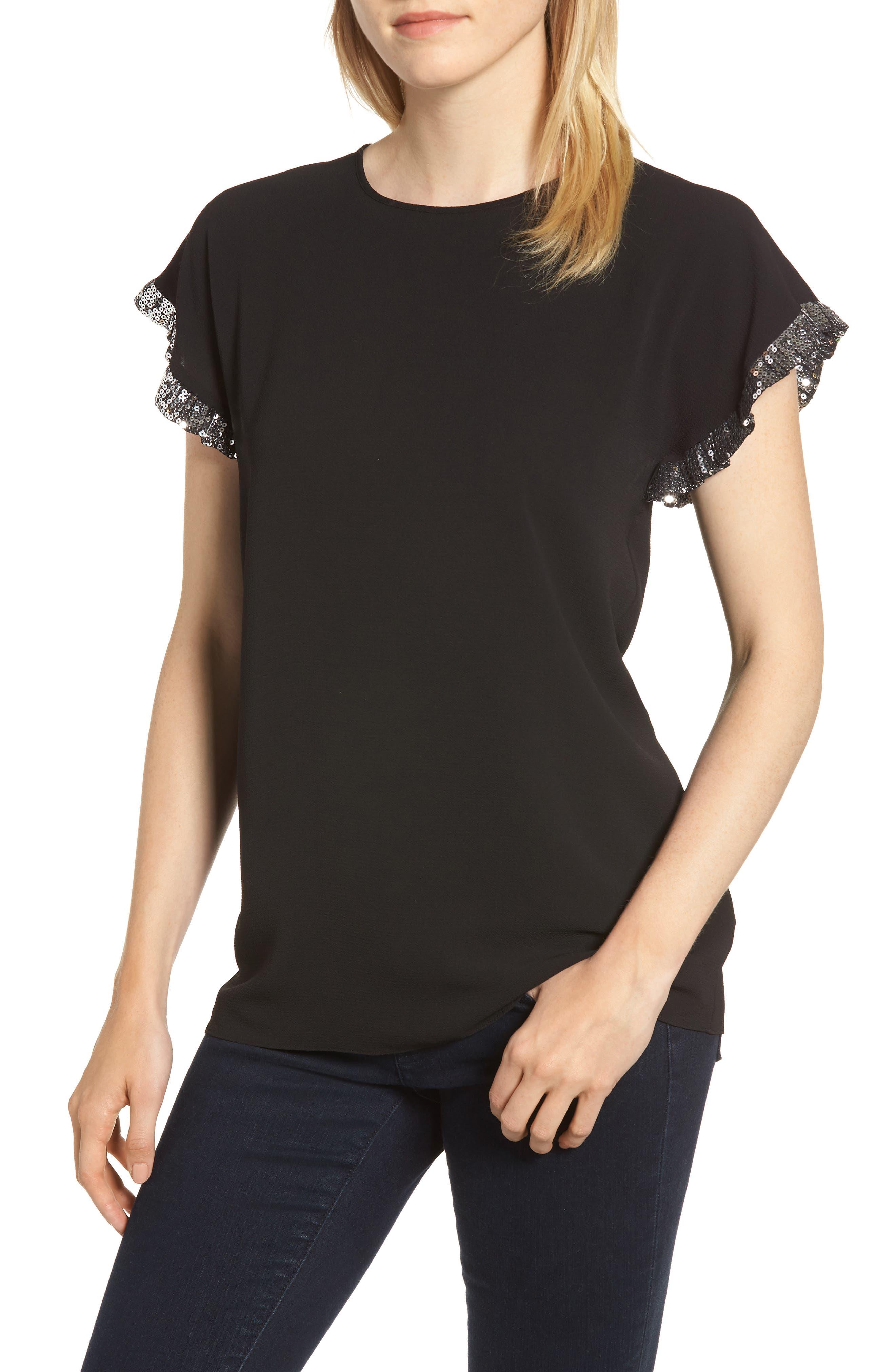 Sequin Ruffle Top, Main, color, BLACK