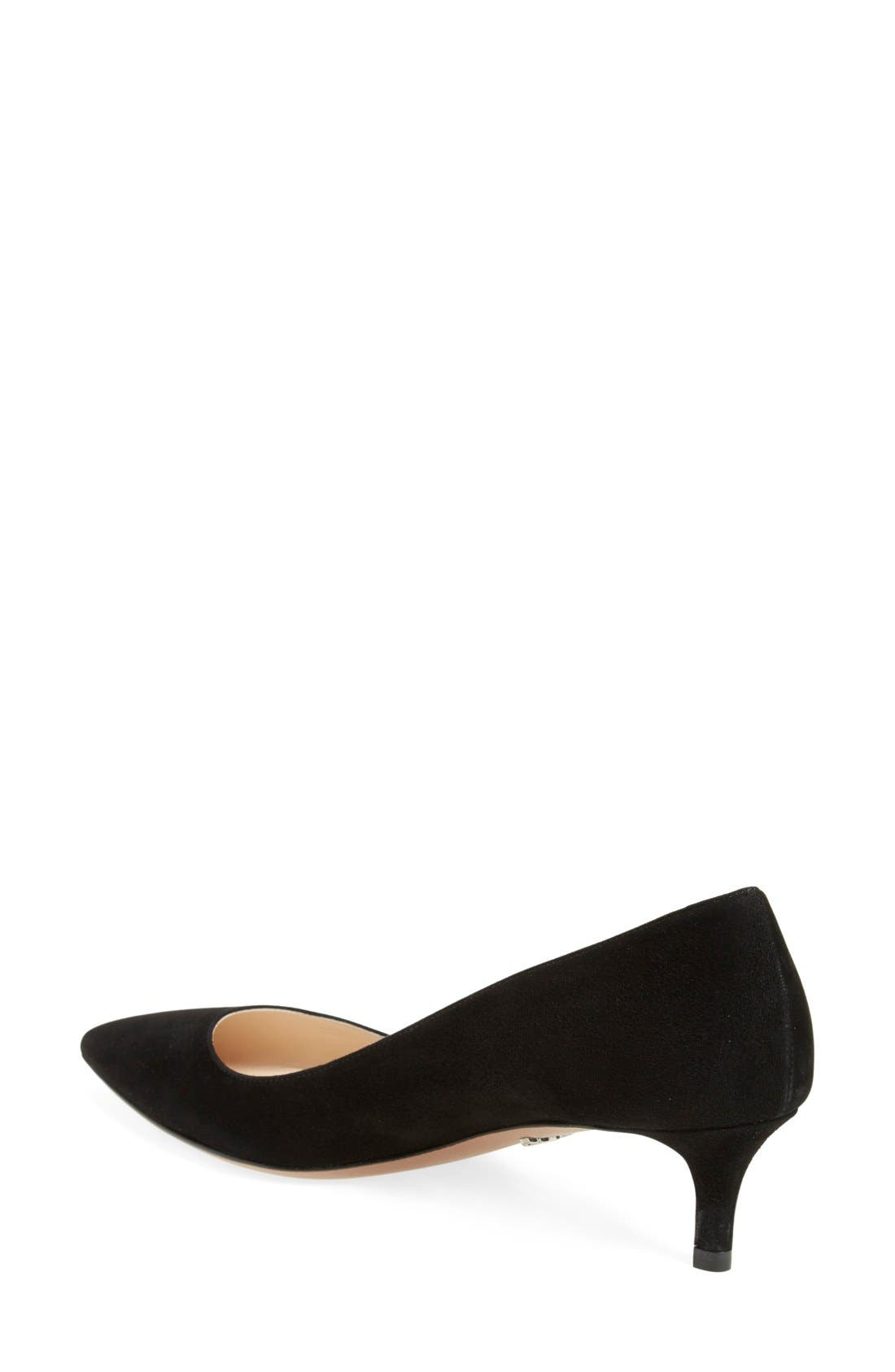 Pointy Toe Pump,                             Alternate thumbnail 3, color,                             BLACK SUEDE