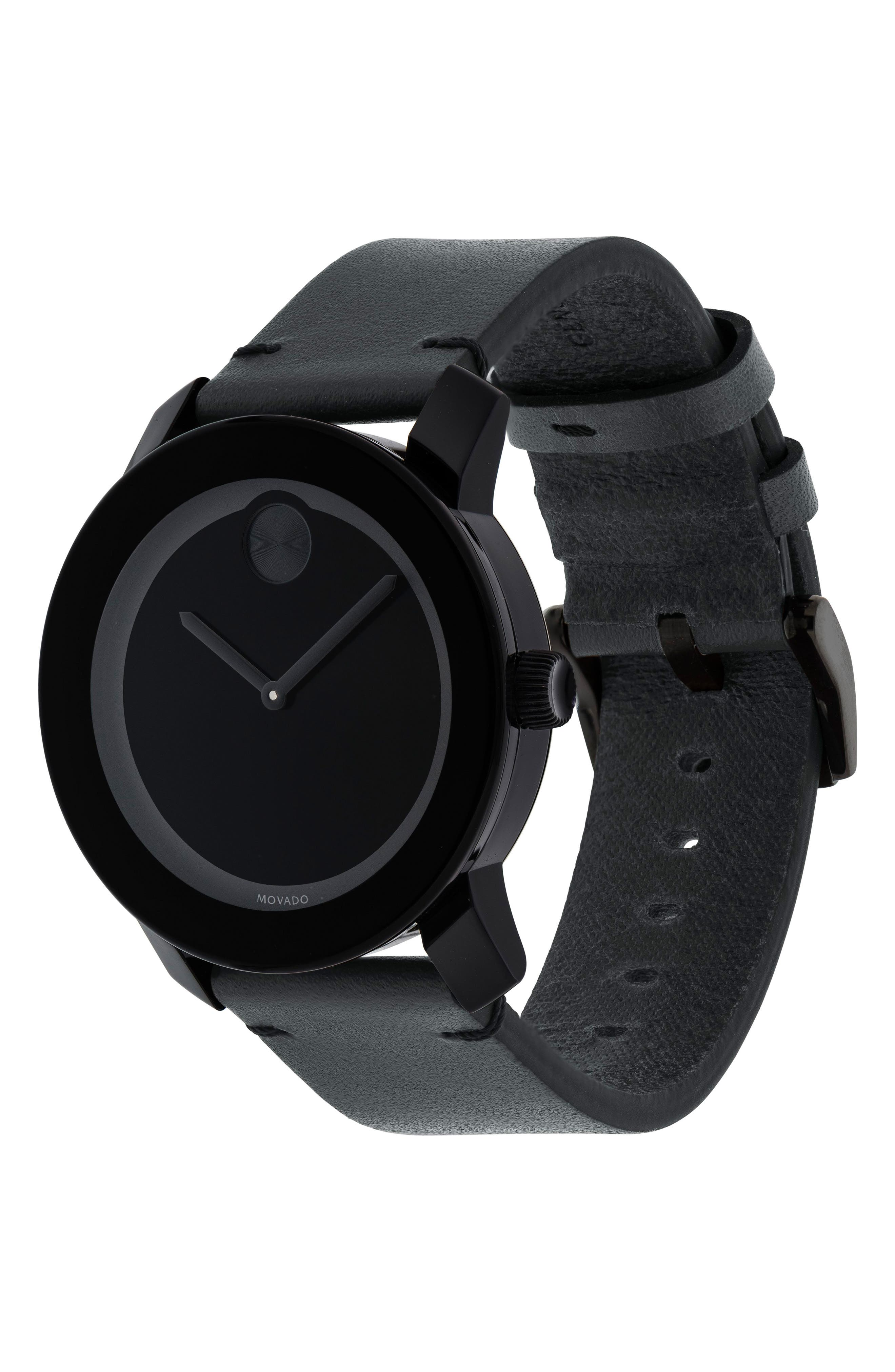 'Bold' Leather Strap Watch, 42mm,                             Alternate thumbnail 3, color,                             GREY/ BLACK