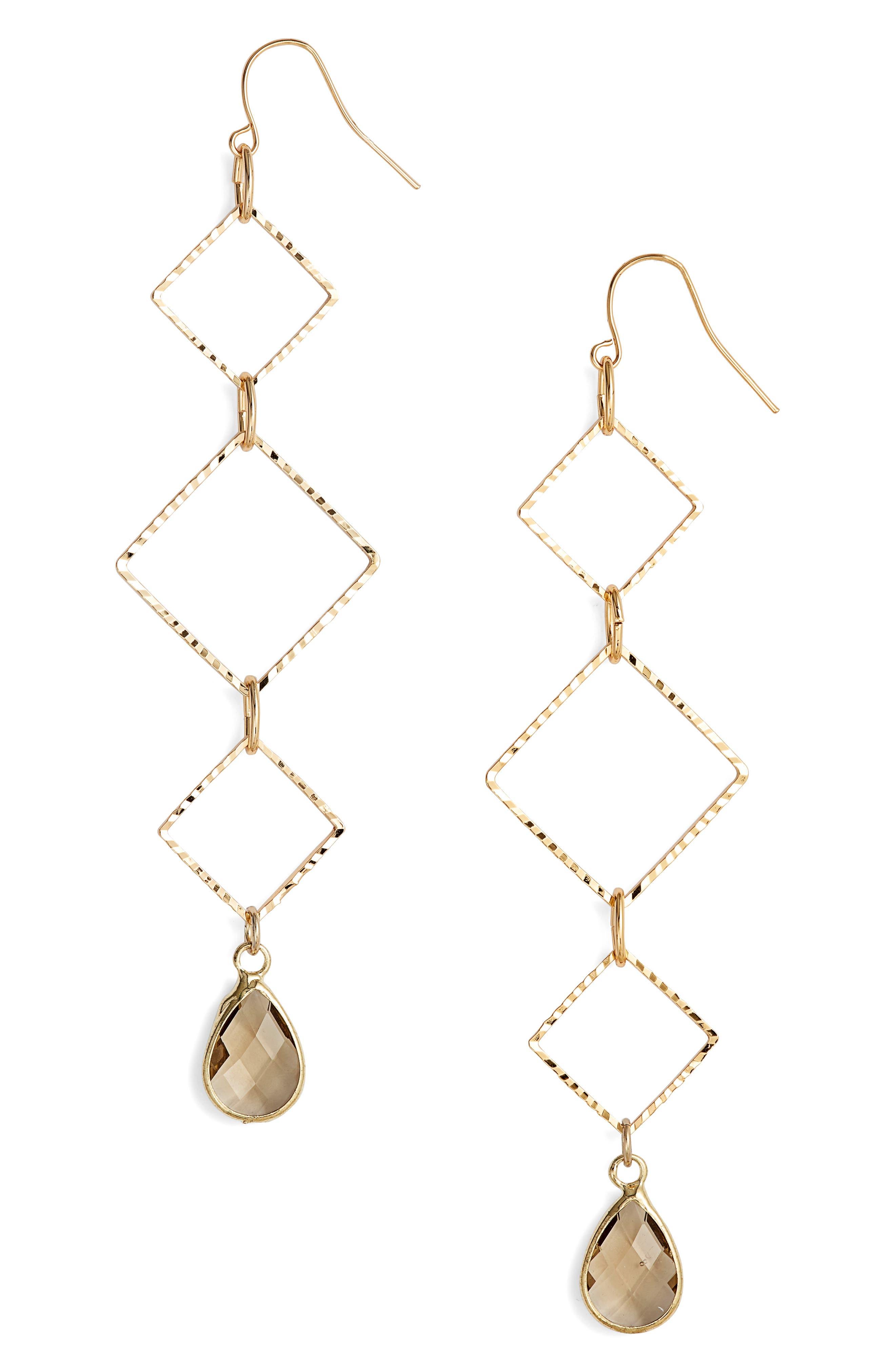 ELISE M. Callie Triangle Drop Earrings in Gold/ Grey