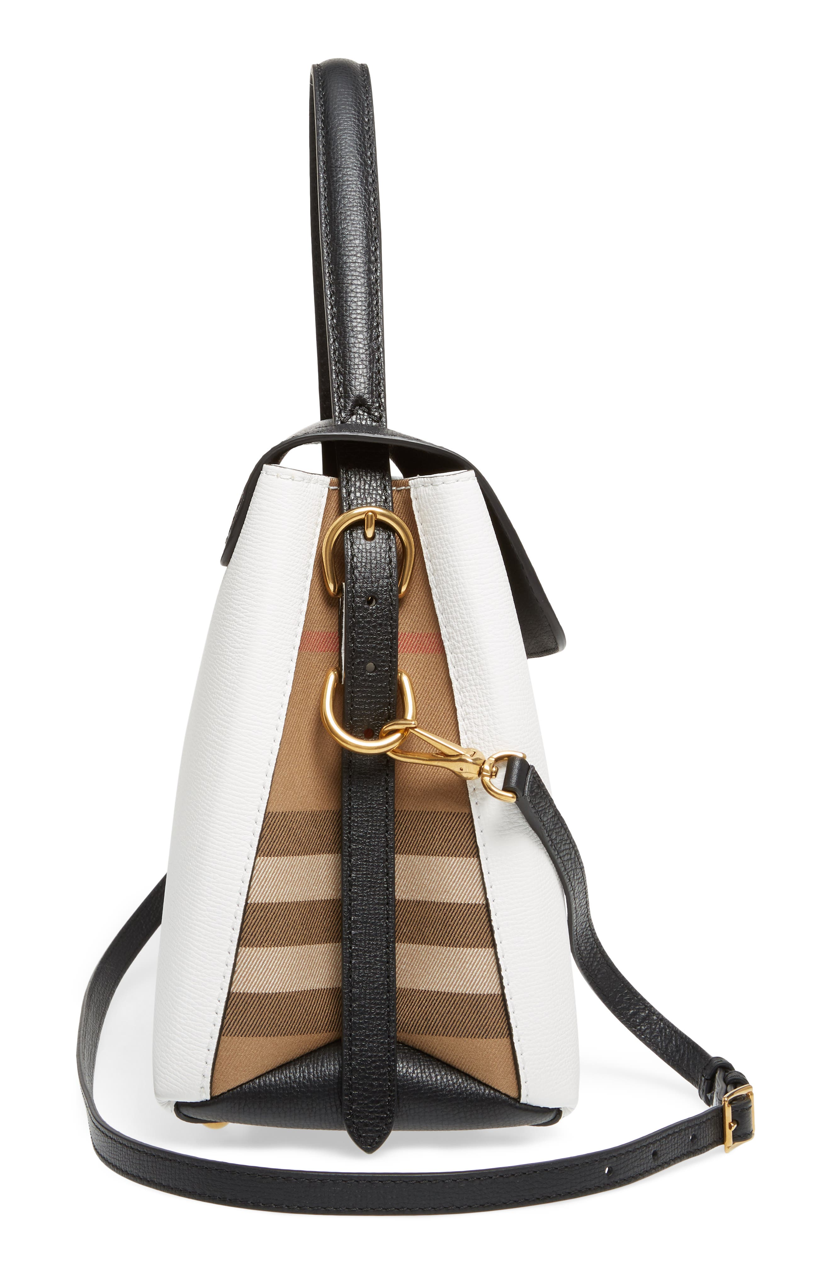 Medium Camberley Colorblock Leather & House Check Top Handle Satchel,                             Alternate thumbnail 5, color,                             WHITE/ BLACK