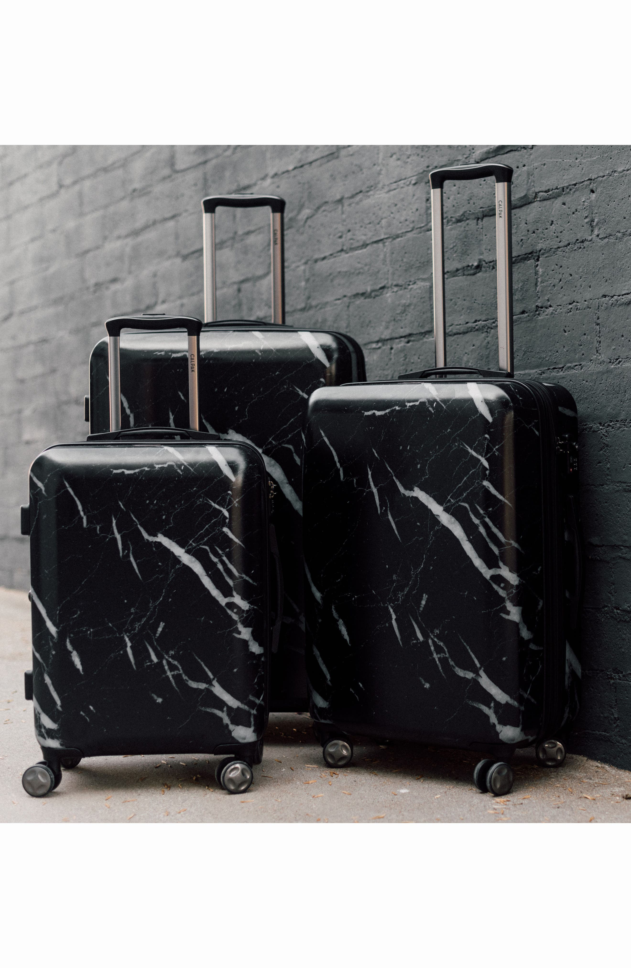 Astyll 3-Piece Marbled Luggage Set,                             Alternate thumbnail 6, color,                             BLACK