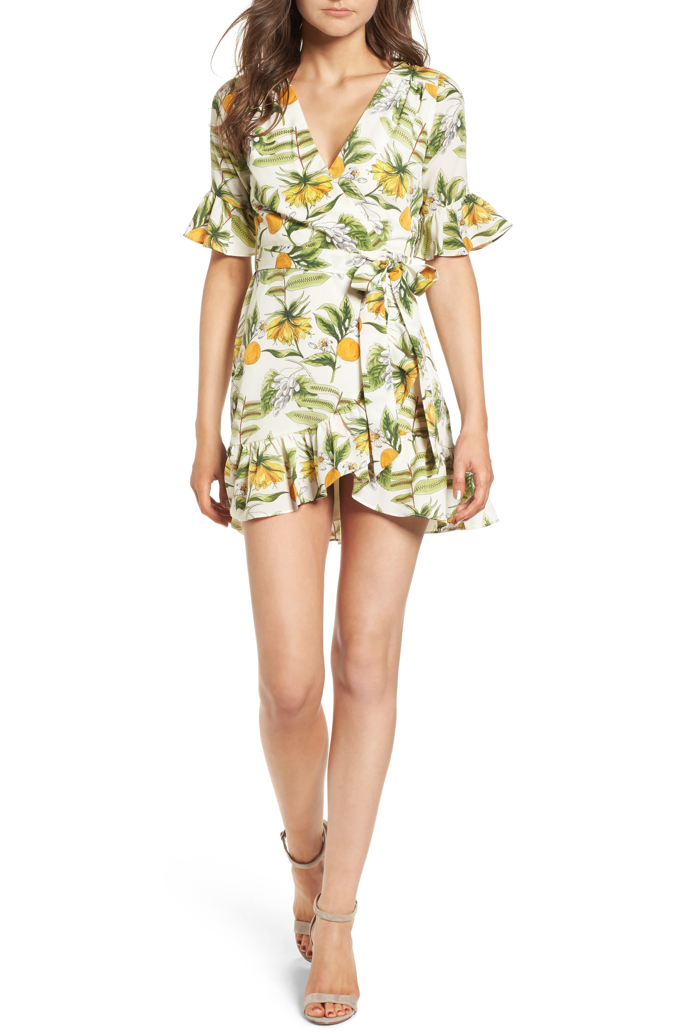 Limonada Citrus Dress,                         Main,                         color, IVORY/ YELLOW