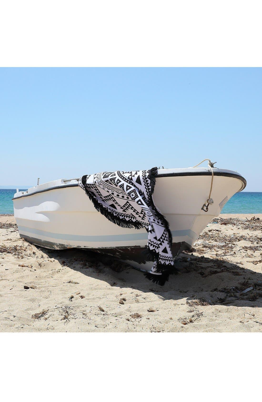 'Kilim' Turkish Pestemal Round Beach Towel,                             Alternate thumbnail 5, color,                             BLACK/ WHITE