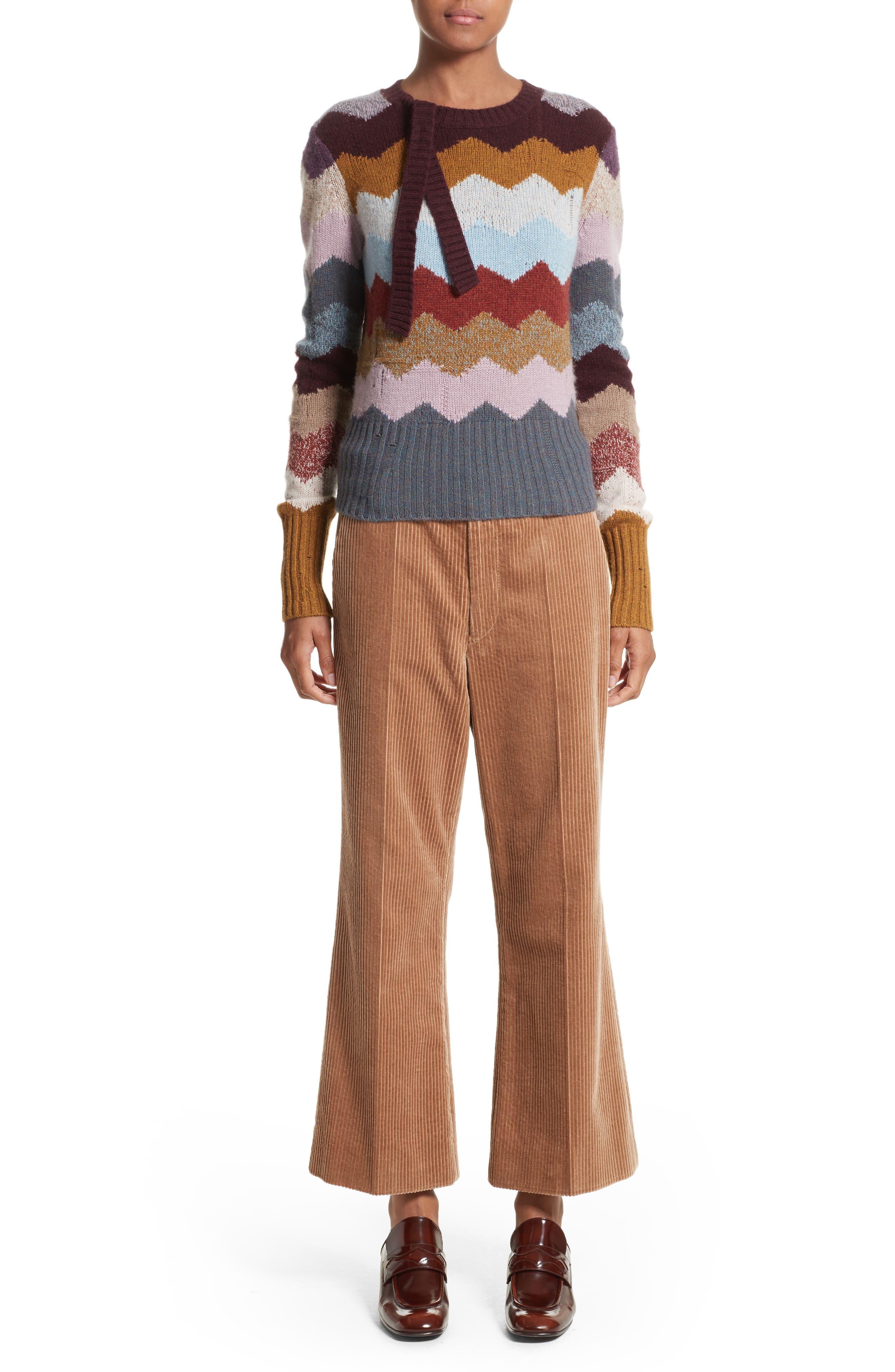 Corduroy Wide Leg Crop Pants,                             Alternate thumbnail 7, color,