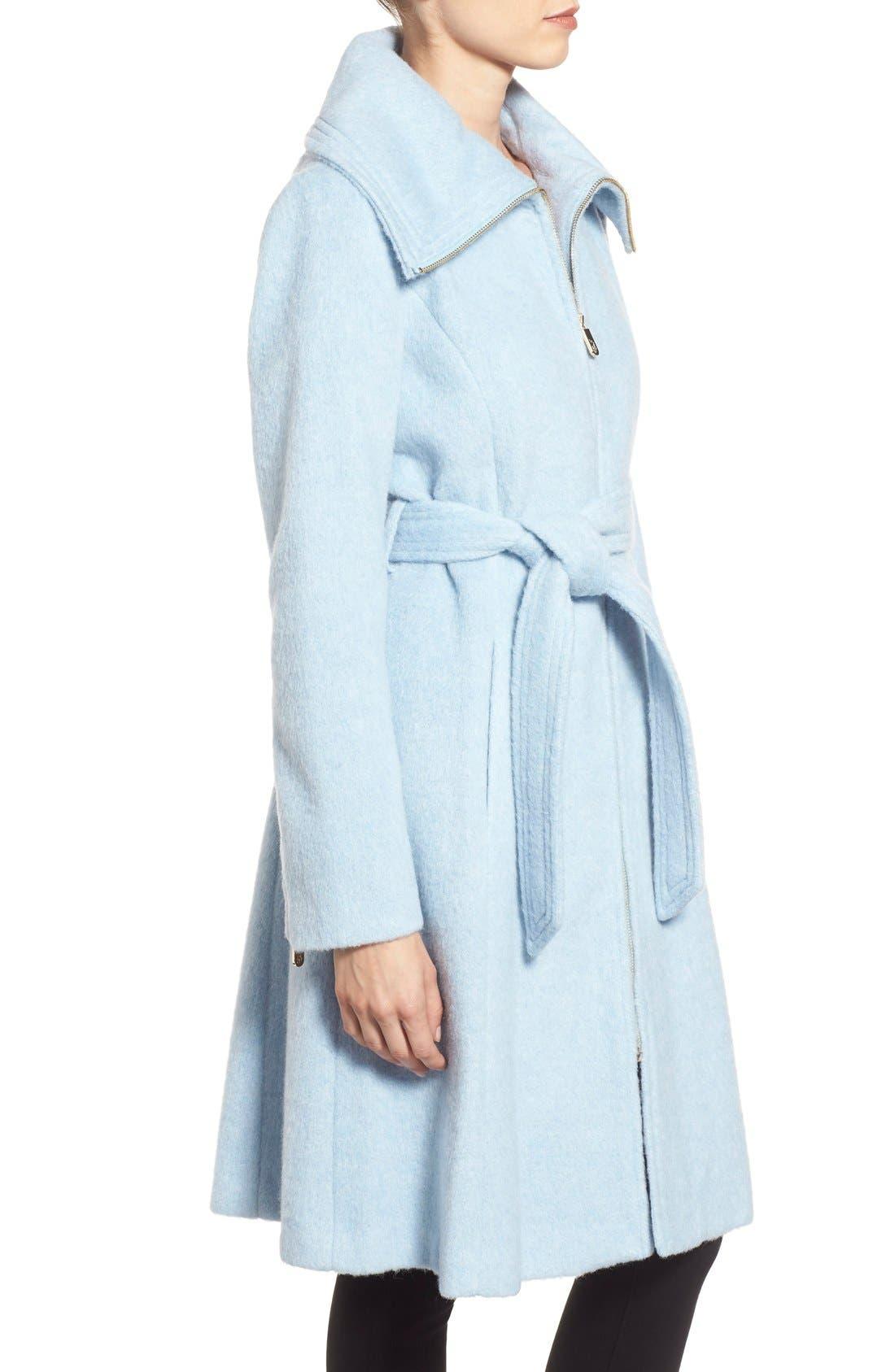 Brushed Wool Blend Fit & Flare Coat,                             Alternate thumbnail 6, color,