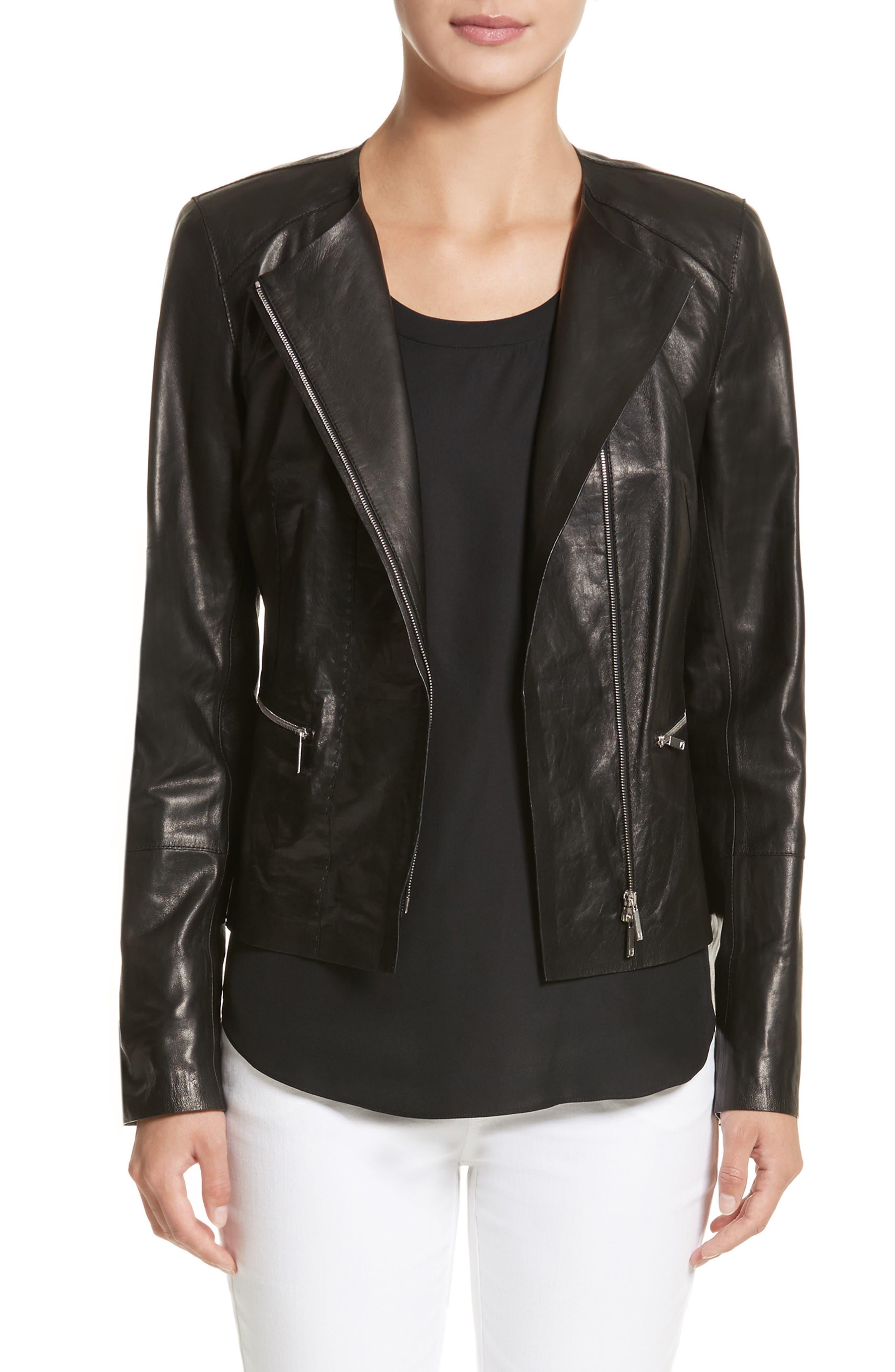 Caridee Glazed Lambskin Leather Jacket,                         Main,                         color, 001