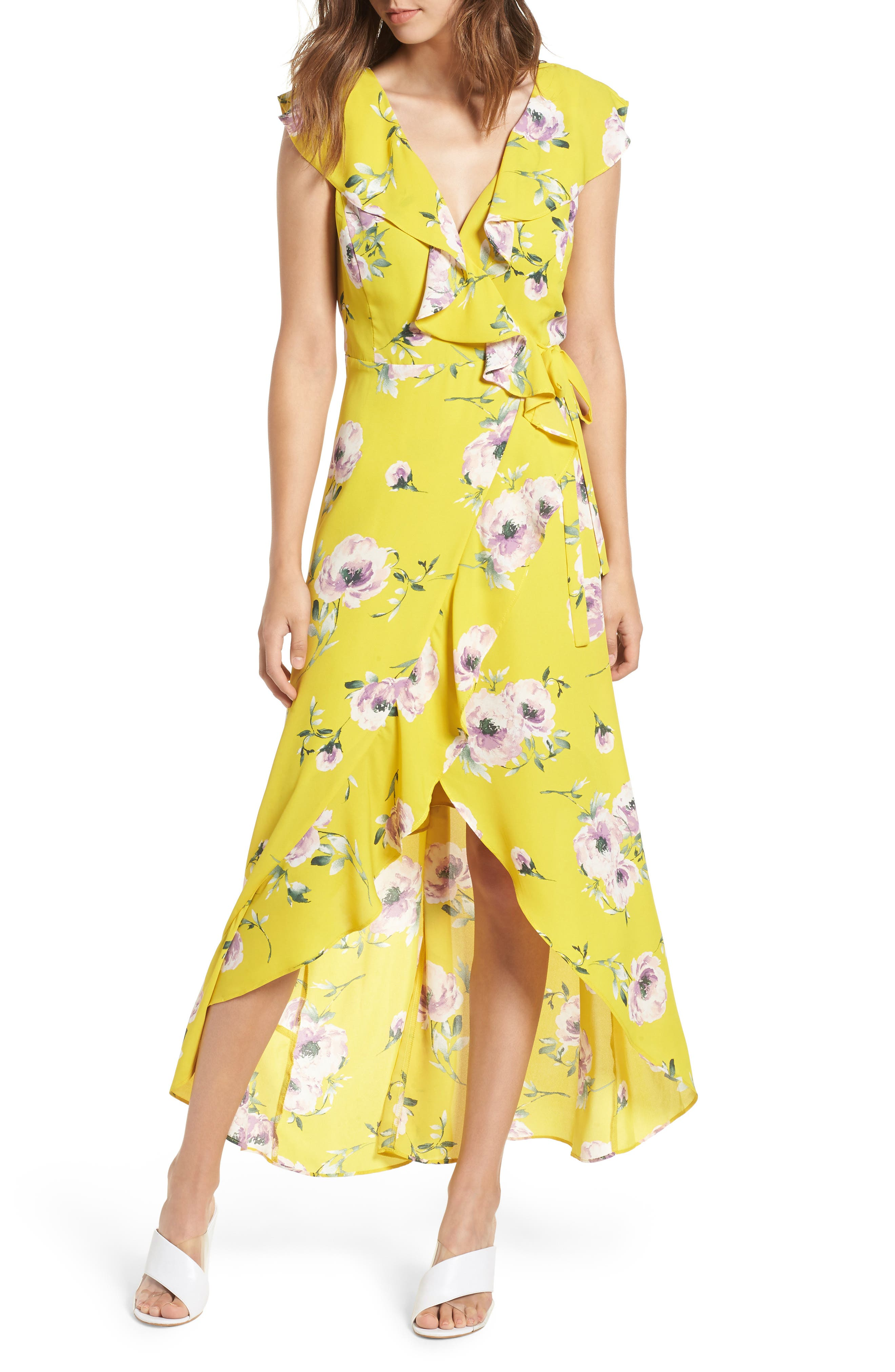 Ruffle Wrap Maxi Dress,                             Main thumbnail 1, color,                             YELLOW TEA BLOOM FLORAL