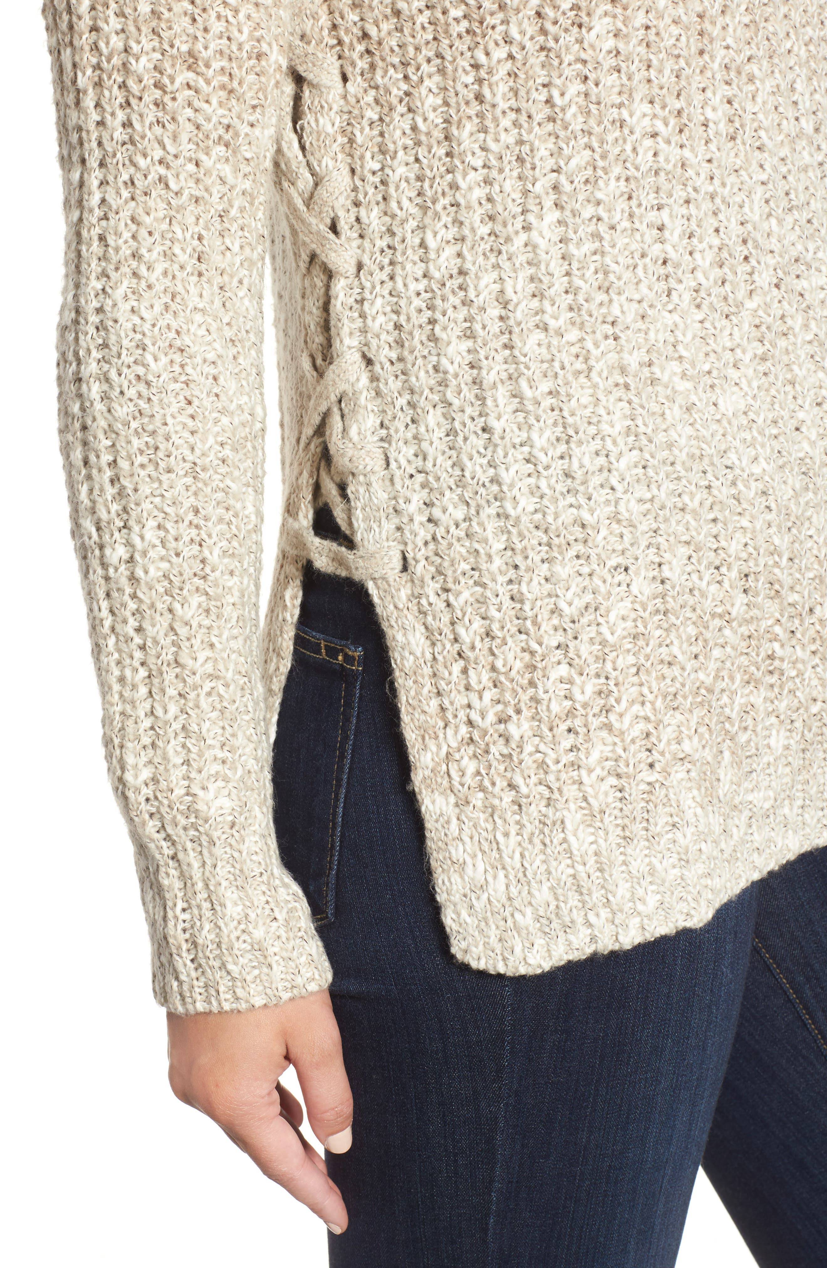 Side Lace-Up Sweater,                             Alternate thumbnail 4, color,                             900