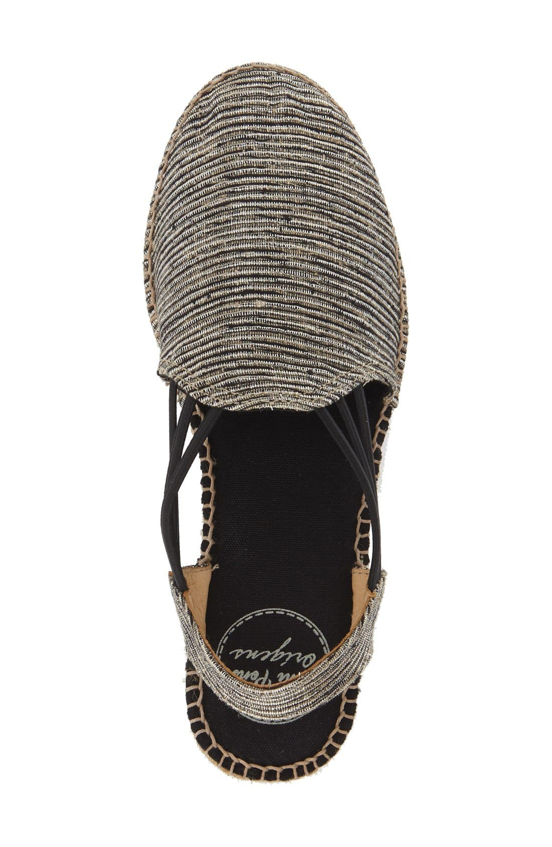 'Noa' Espadrille Sandal,                             Alternate thumbnail 6, color,                             BLACK FABRIC