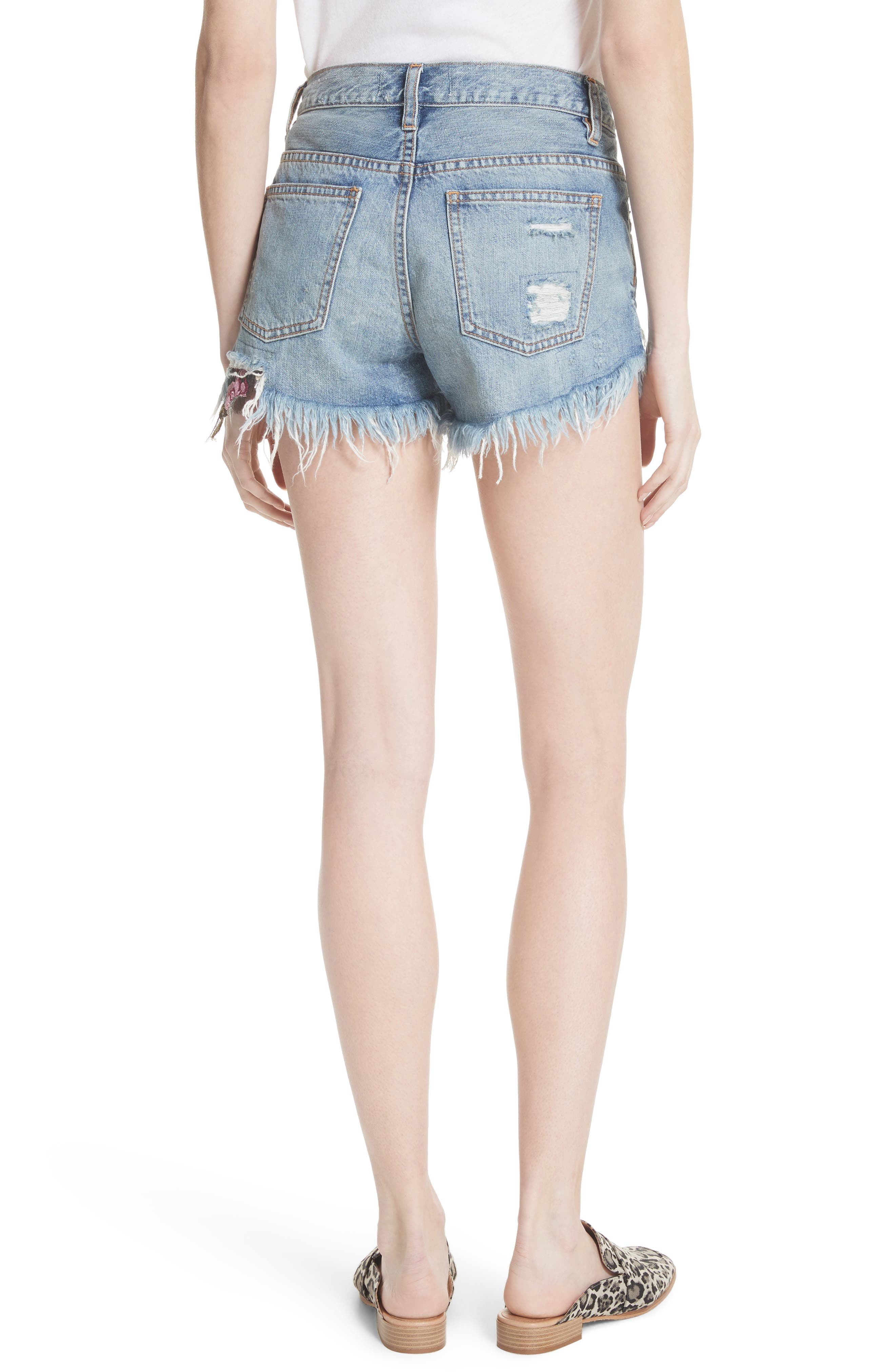 Embroidered Ripped Shorts,                             Alternate thumbnail 2, color,                             400