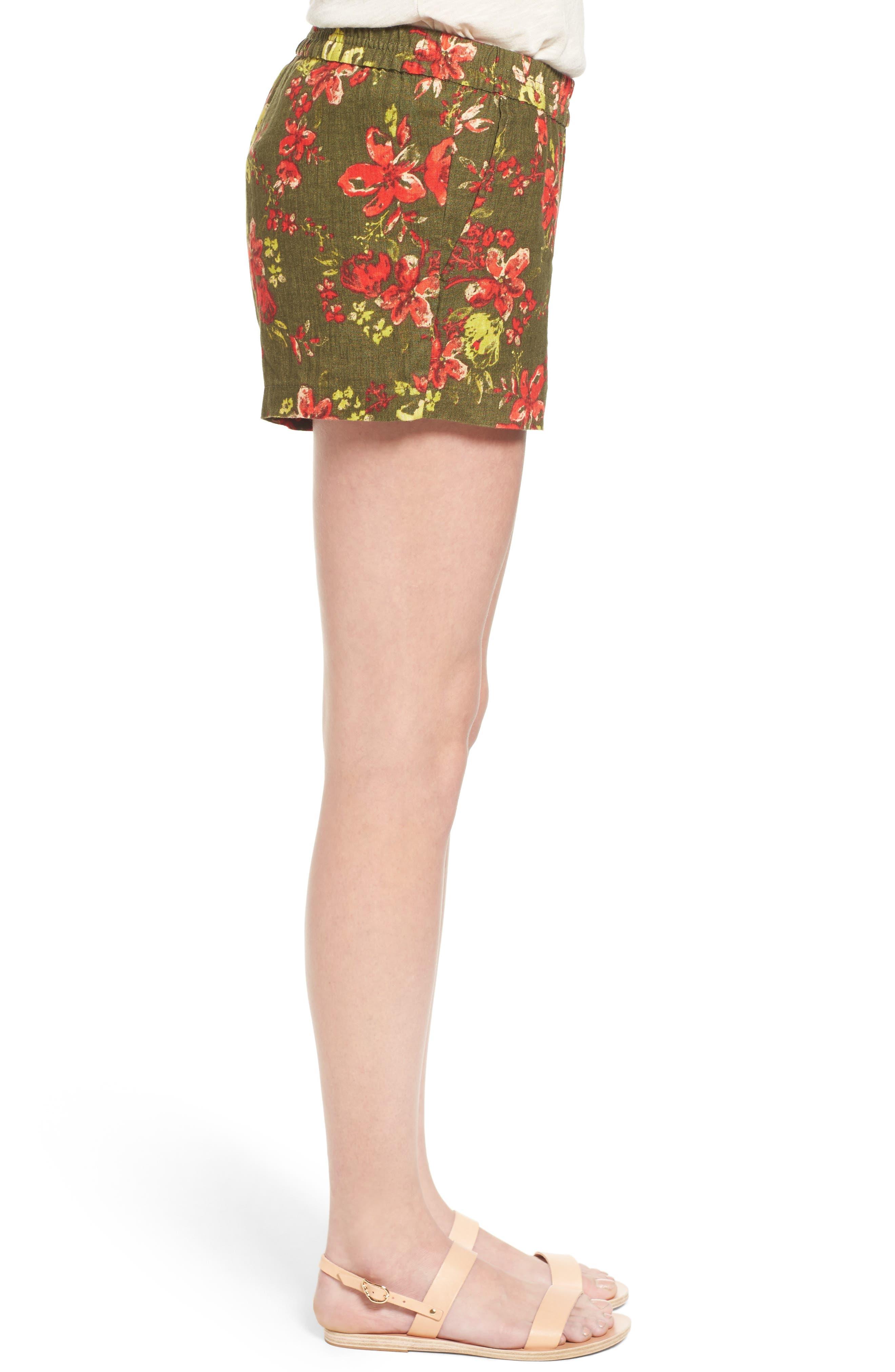 Zaria Print Linen Shorts,                             Alternate thumbnail 3, color,                             317
