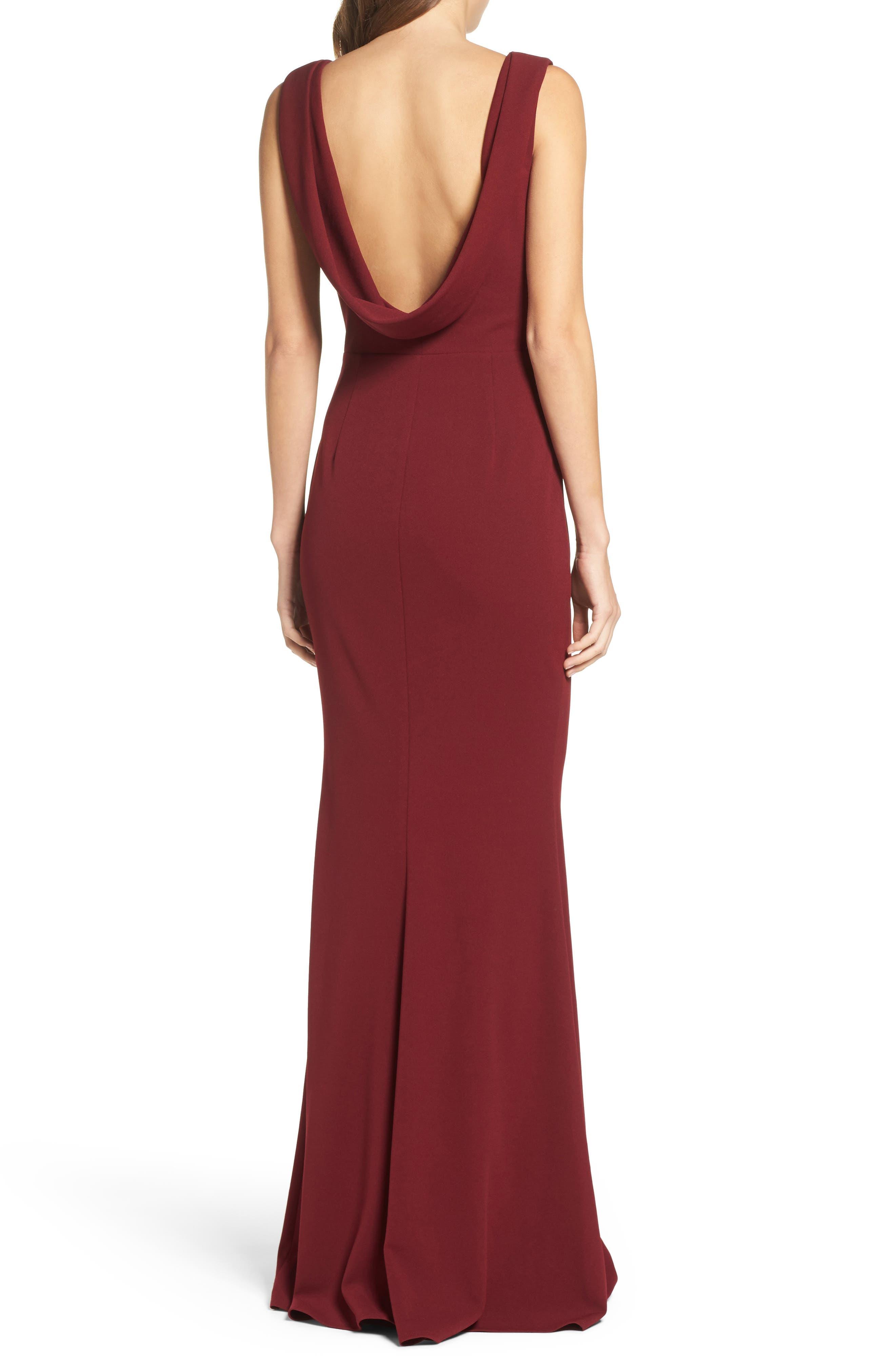 Vionnet Drape Back Crepe Gown,                             Alternate thumbnail 2, color,                             BORDEAUX