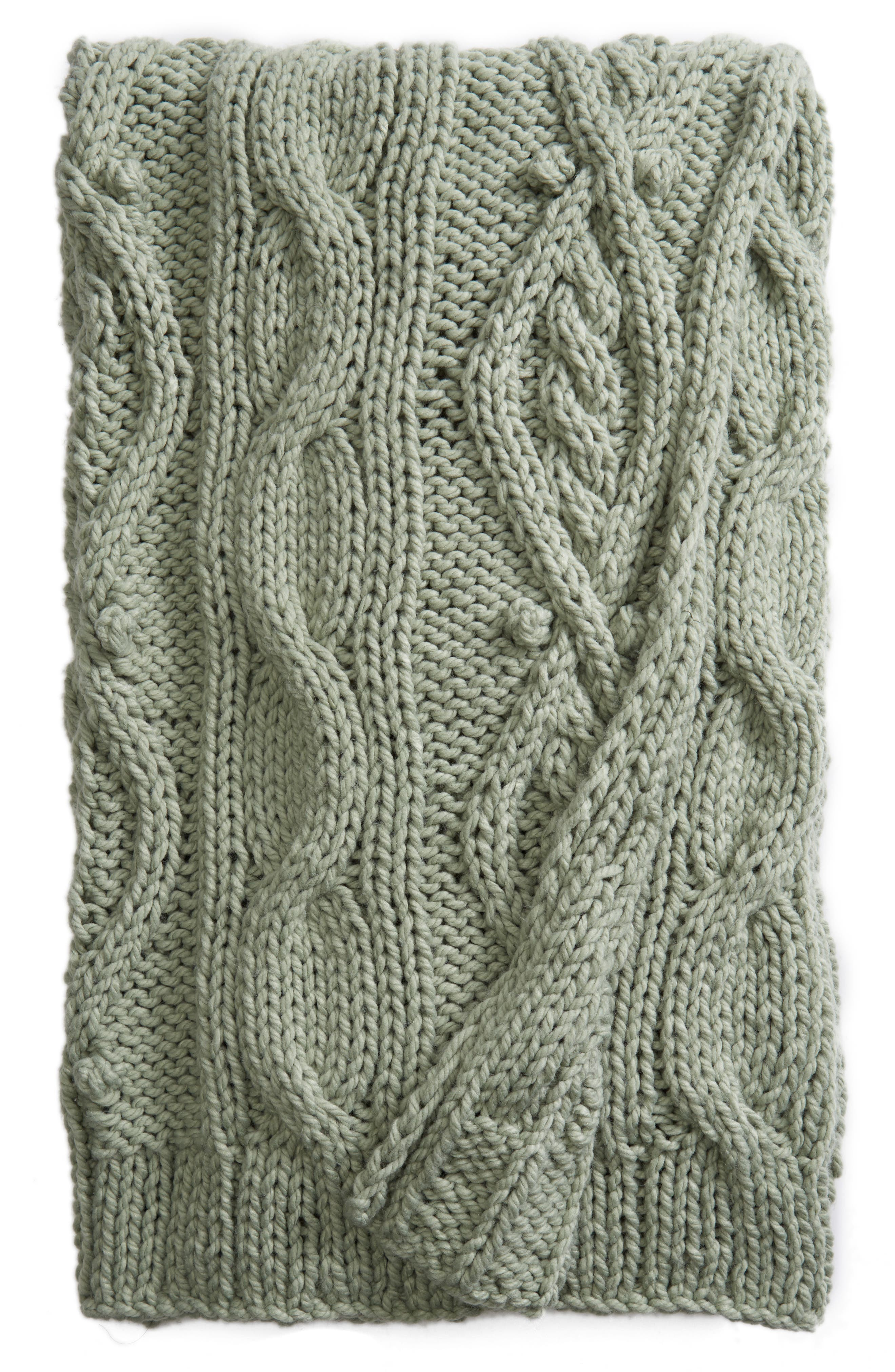 Chunky Cable Knit Throw Blanket,                             Main thumbnail 1, color,                             GREEN ICEBERG