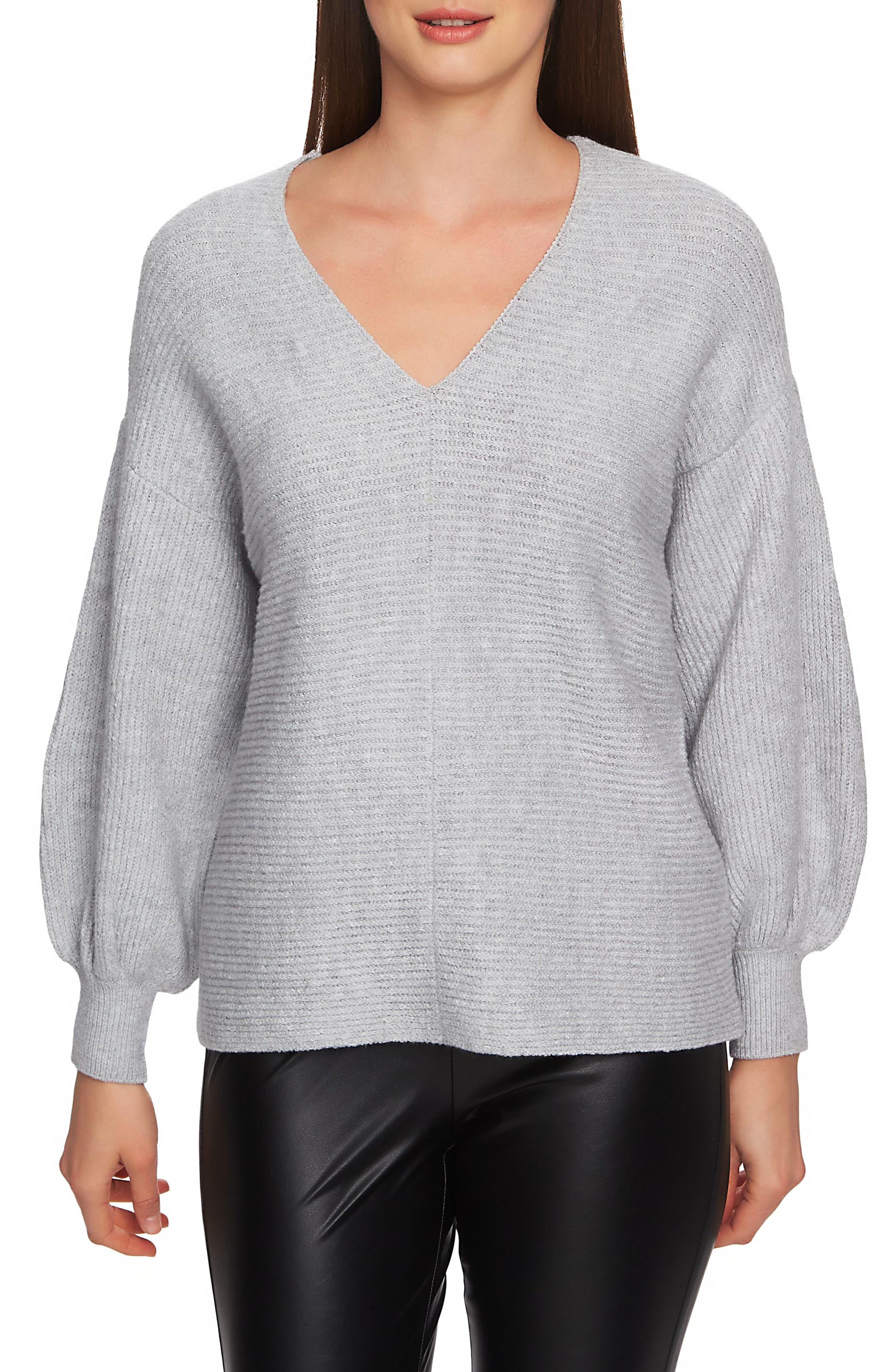 Blouson Sleeve V-Neck Sweater,                             Main thumbnail 1, color,                             LIGHT HEATHER GREY