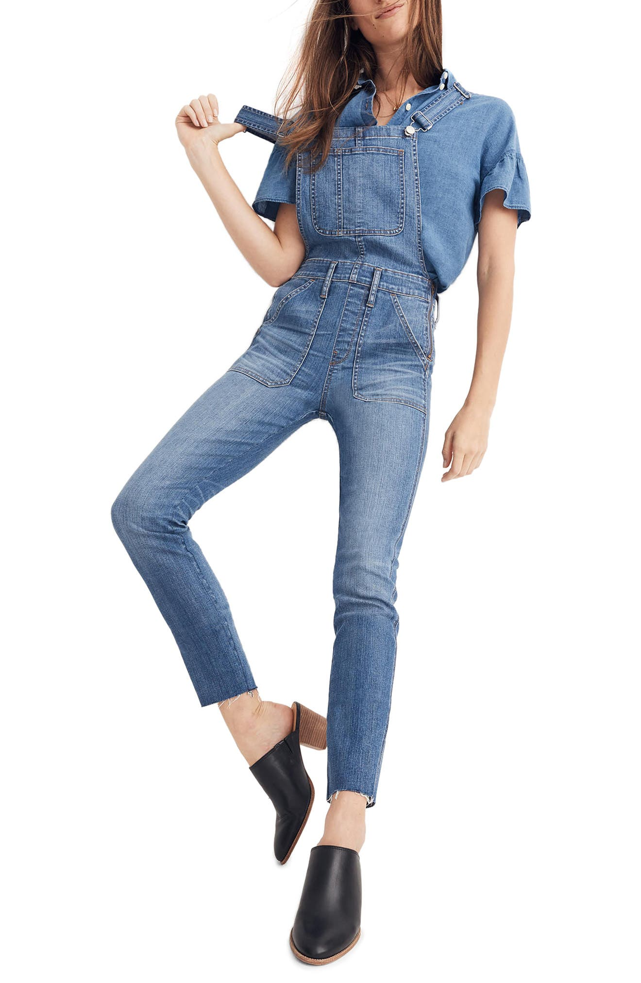 Skinny Denim Overalls,                             Main thumbnail 1, color,                             JERRY WASH