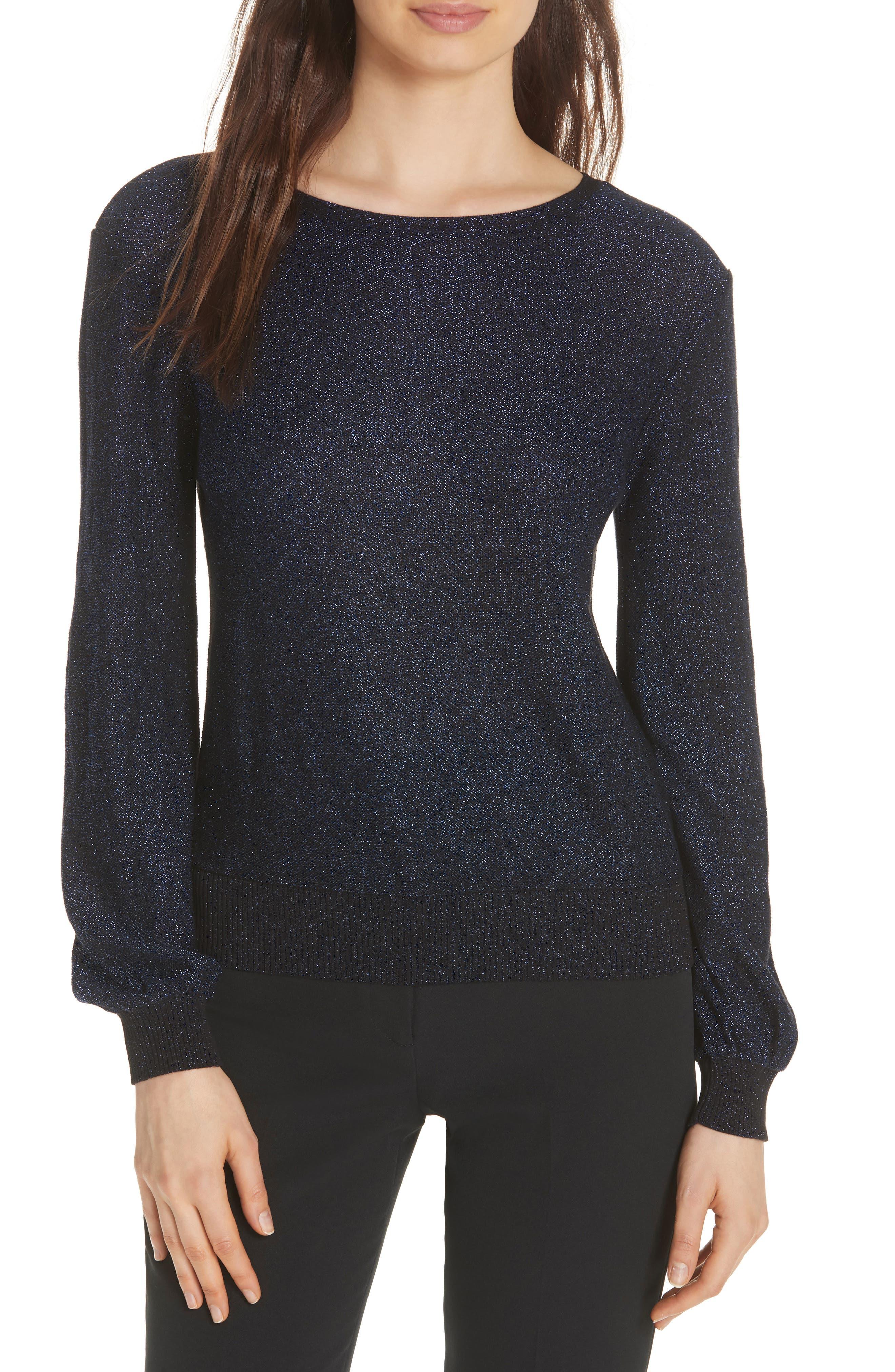 Metallic Shimmer Cotton Blend Sweater,                             Main thumbnail 1, color,                             COBALT