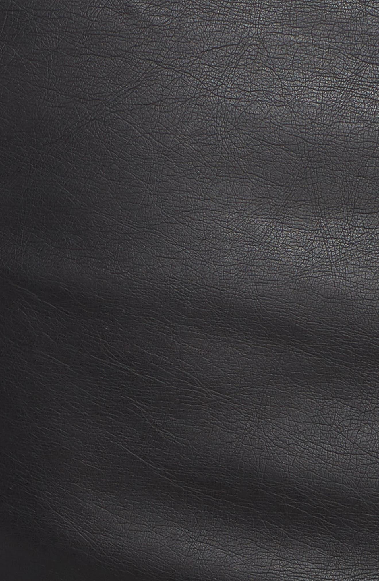 Ribbed Drape Front Faux Leather Jacket,                             Alternate thumbnail 7, color,                             BLACK