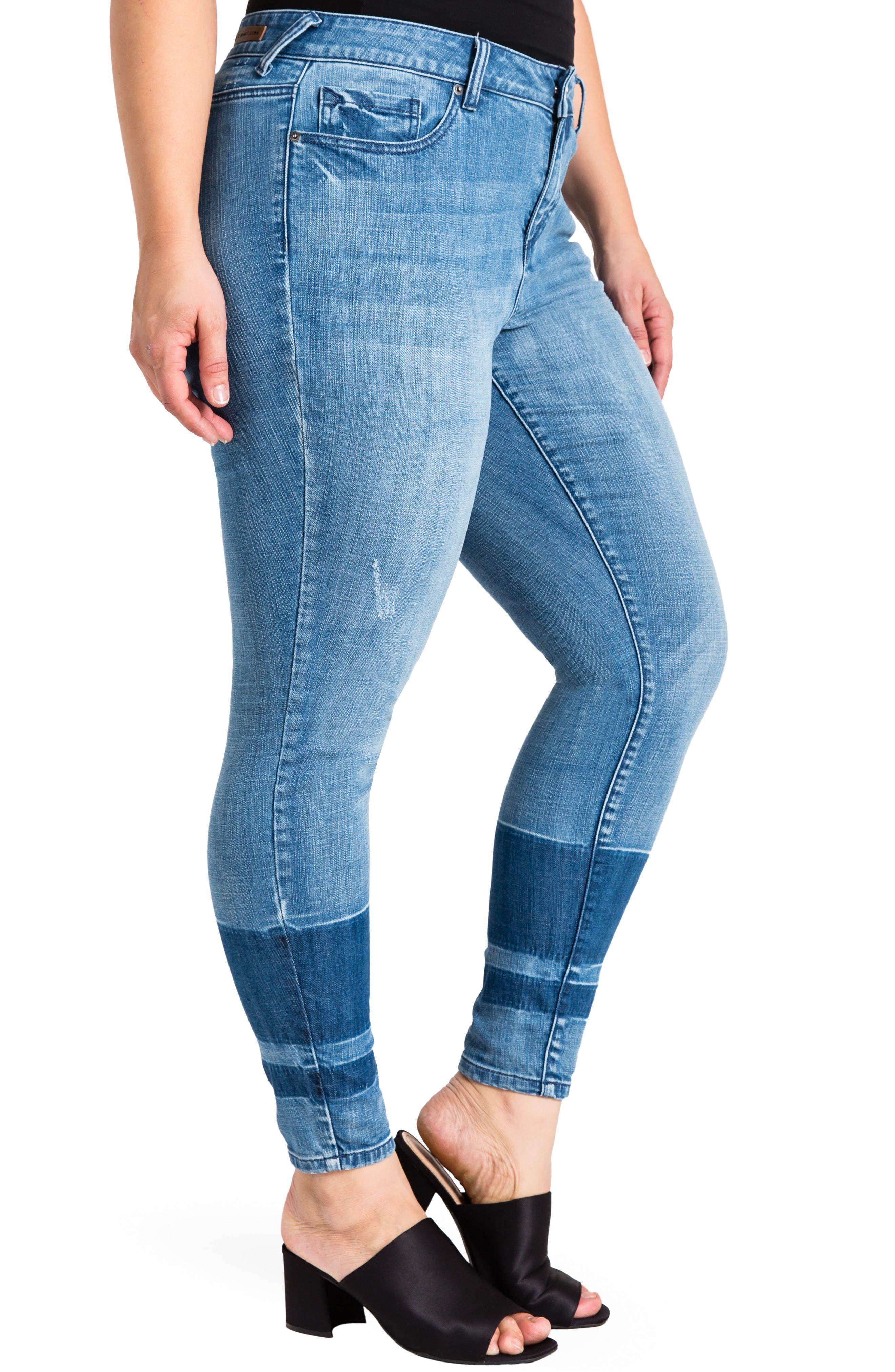 Virginia Ankle Skinny Jeans,                             Alternate thumbnail 3, color,                             MEDIUM BLUE