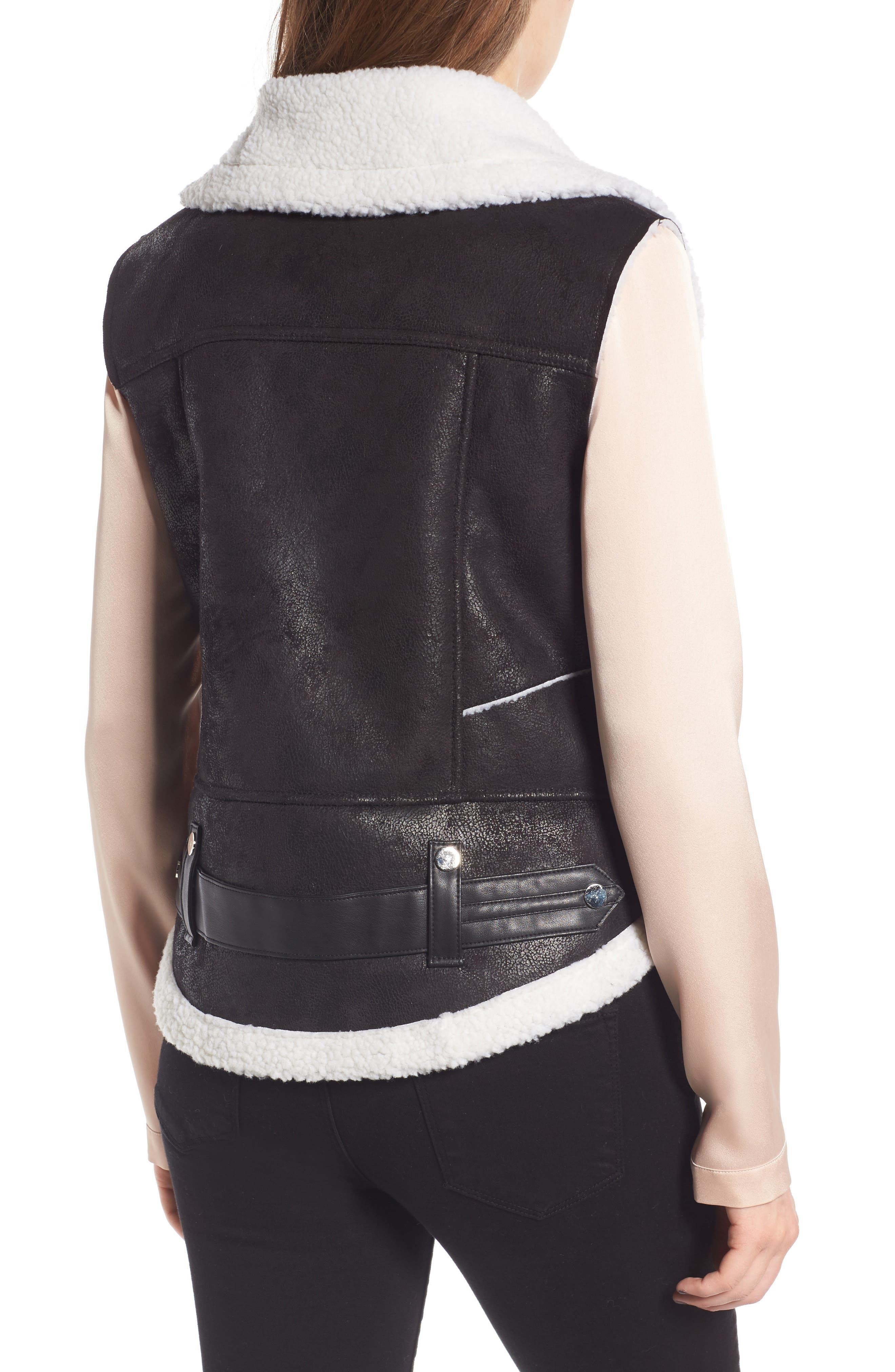 Faux Shearling Moto Vest,                             Alternate thumbnail 2, color,                             001