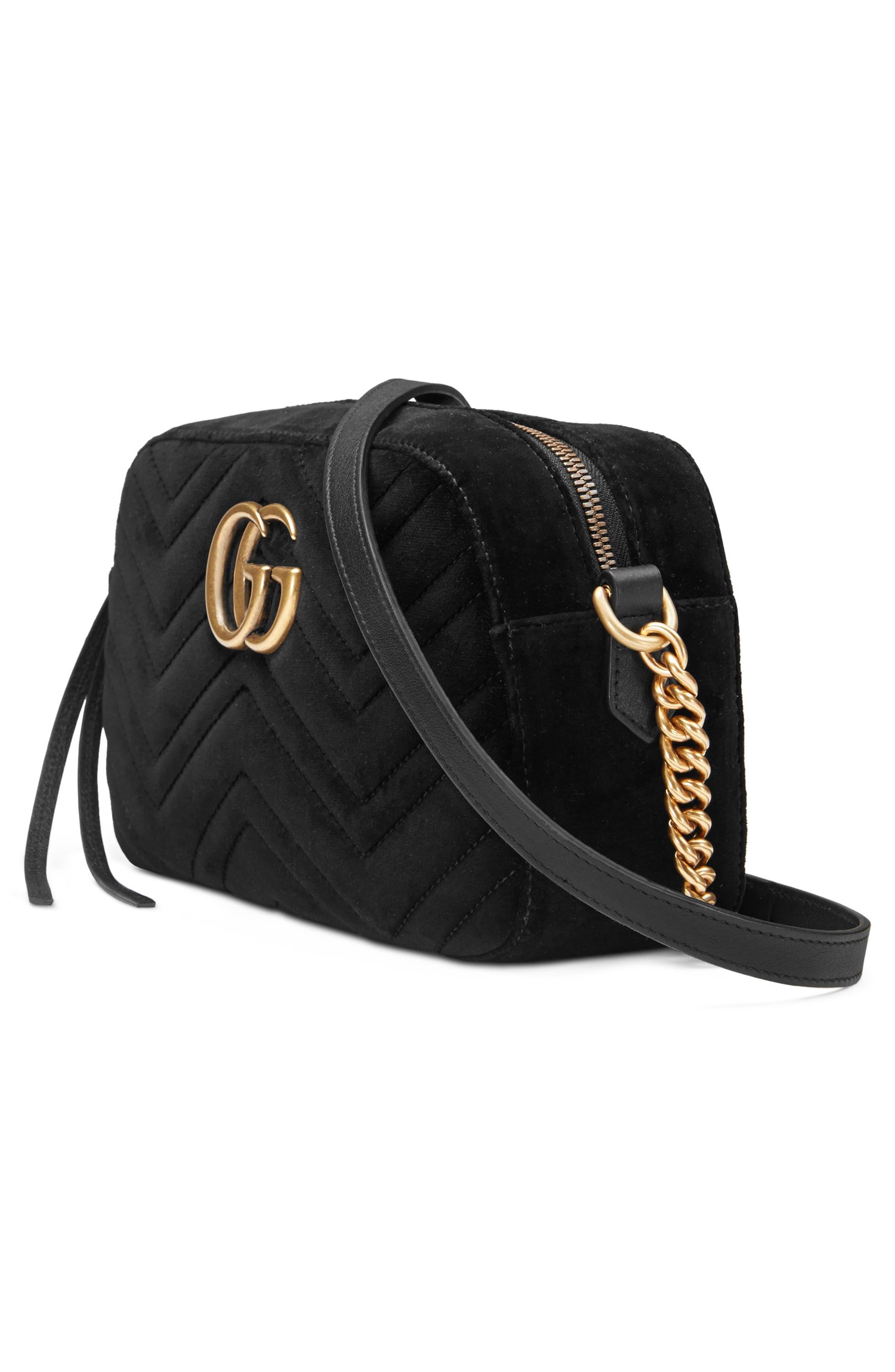 Small GG Marmont 2.0 Matelassé Velvet Shoulder Bag,                             Alternate thumbnail 4, color,                             NERO/ NERO