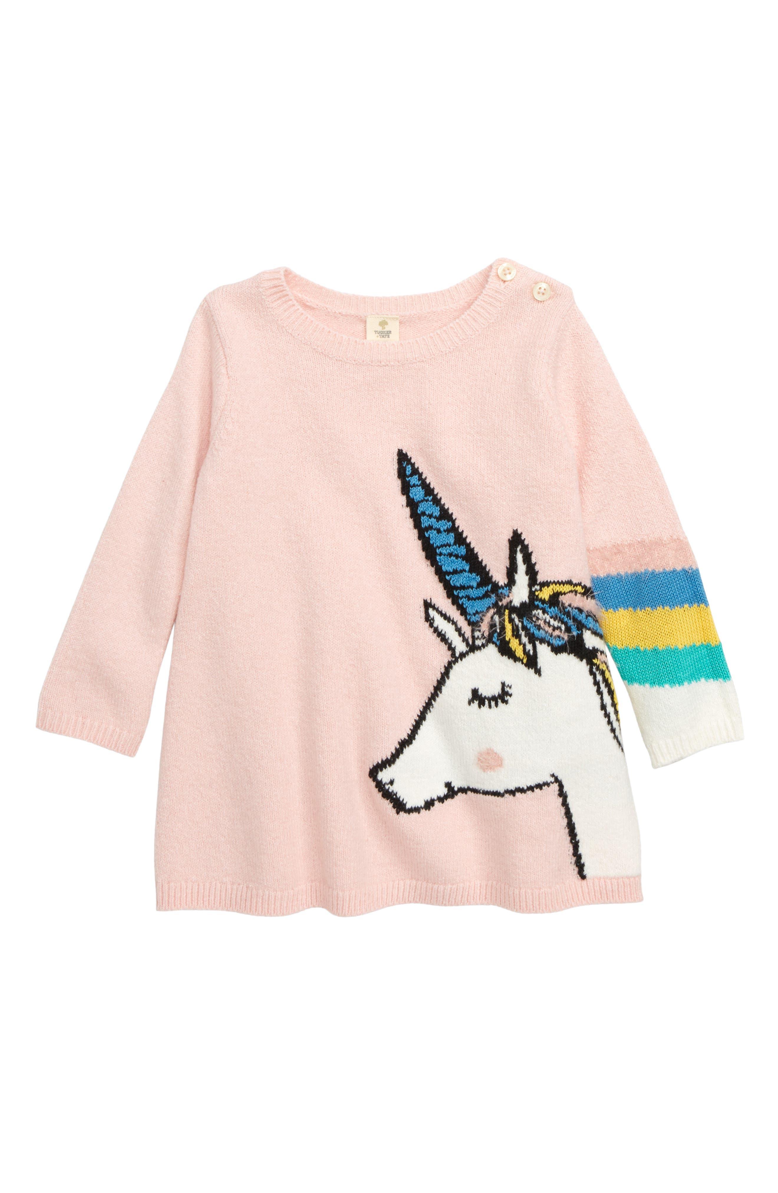 TUCKER + TATE Unicorn Sweater Dress, Main, color, 680