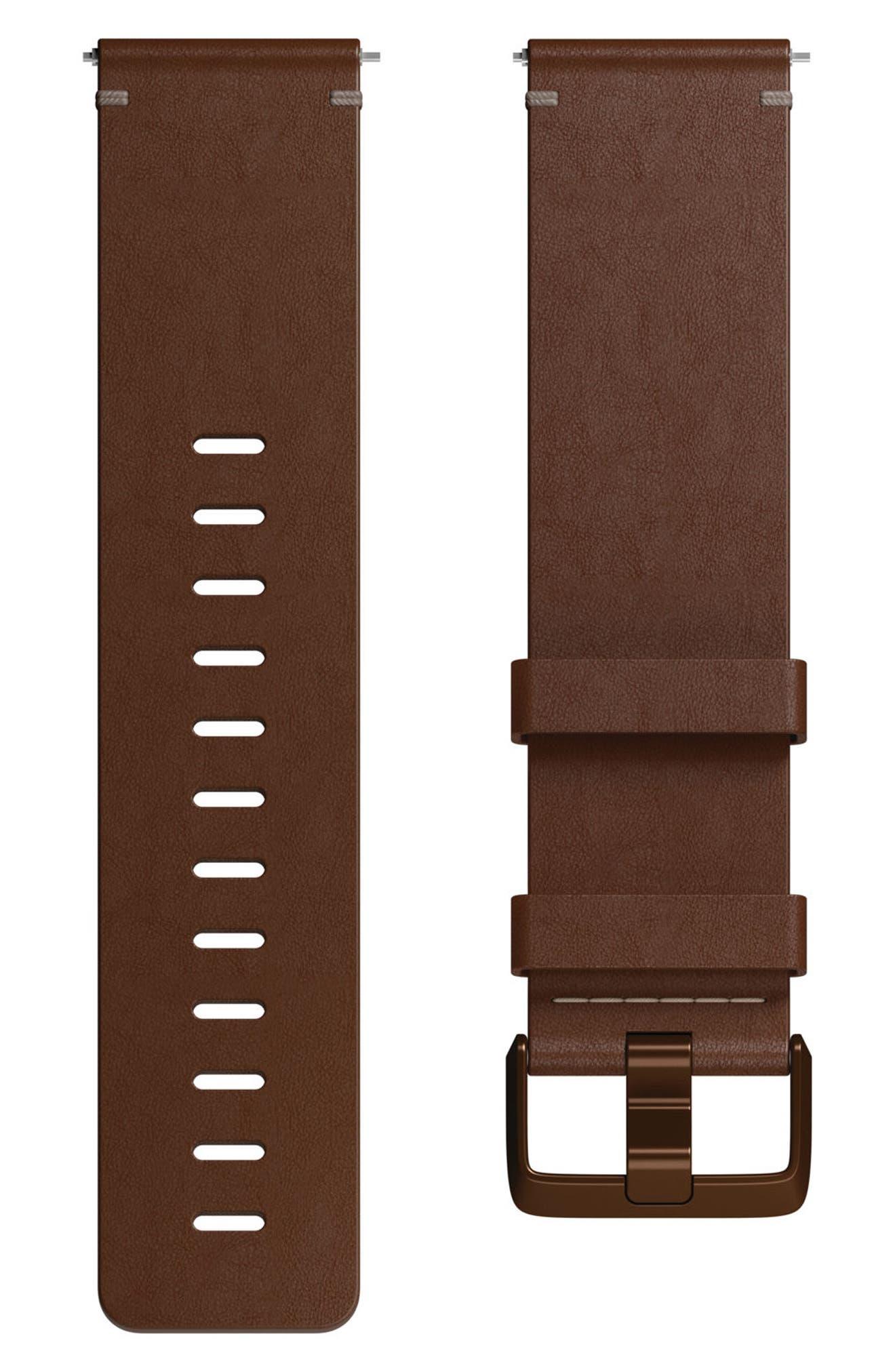 Versa Leather Strap Watch Band,                         Main,                         color, COGNAC