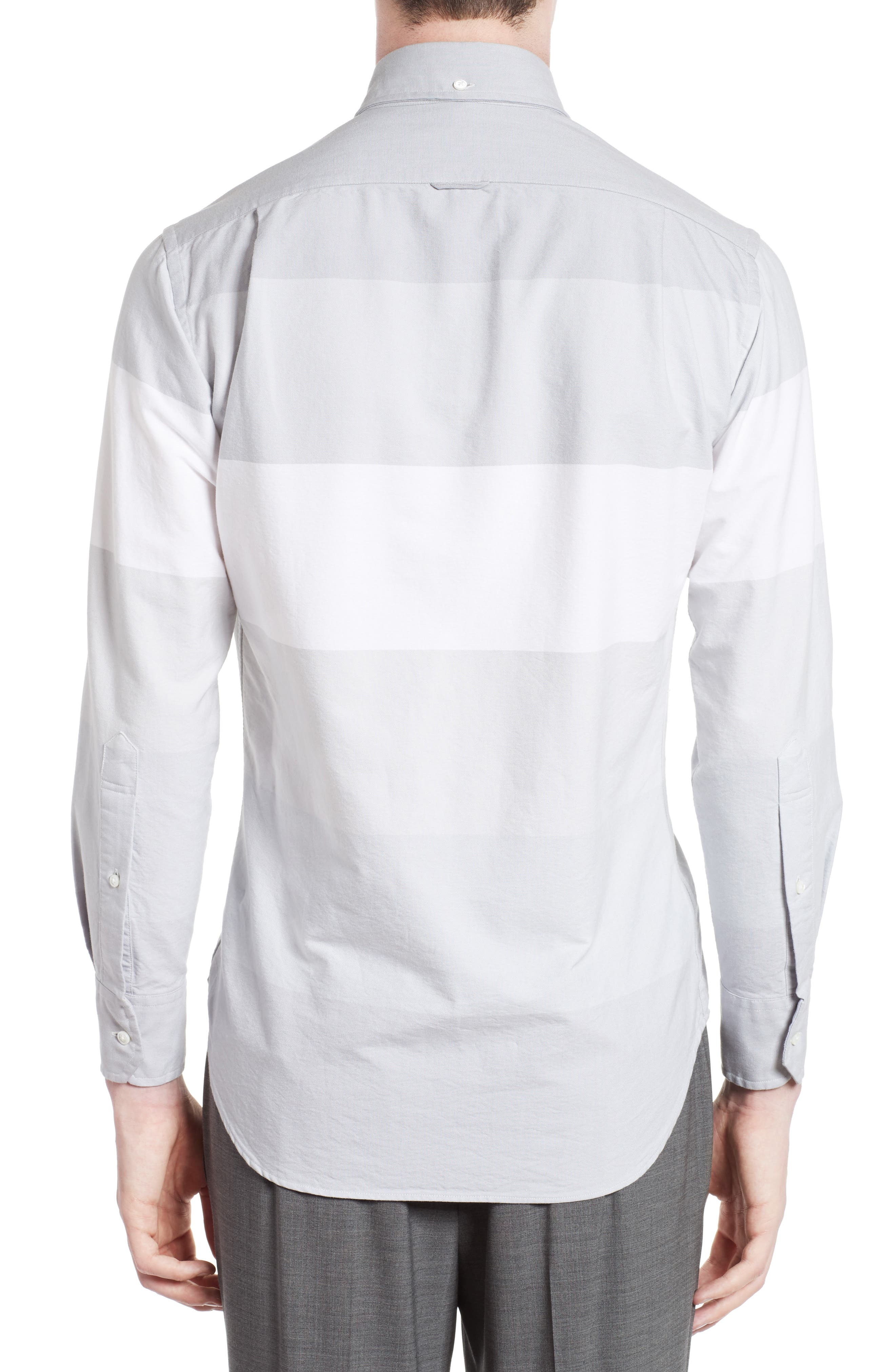 Trim Fit Large Stripe Sport Shirt,                             Alternate thumbnail 3, color,                             020