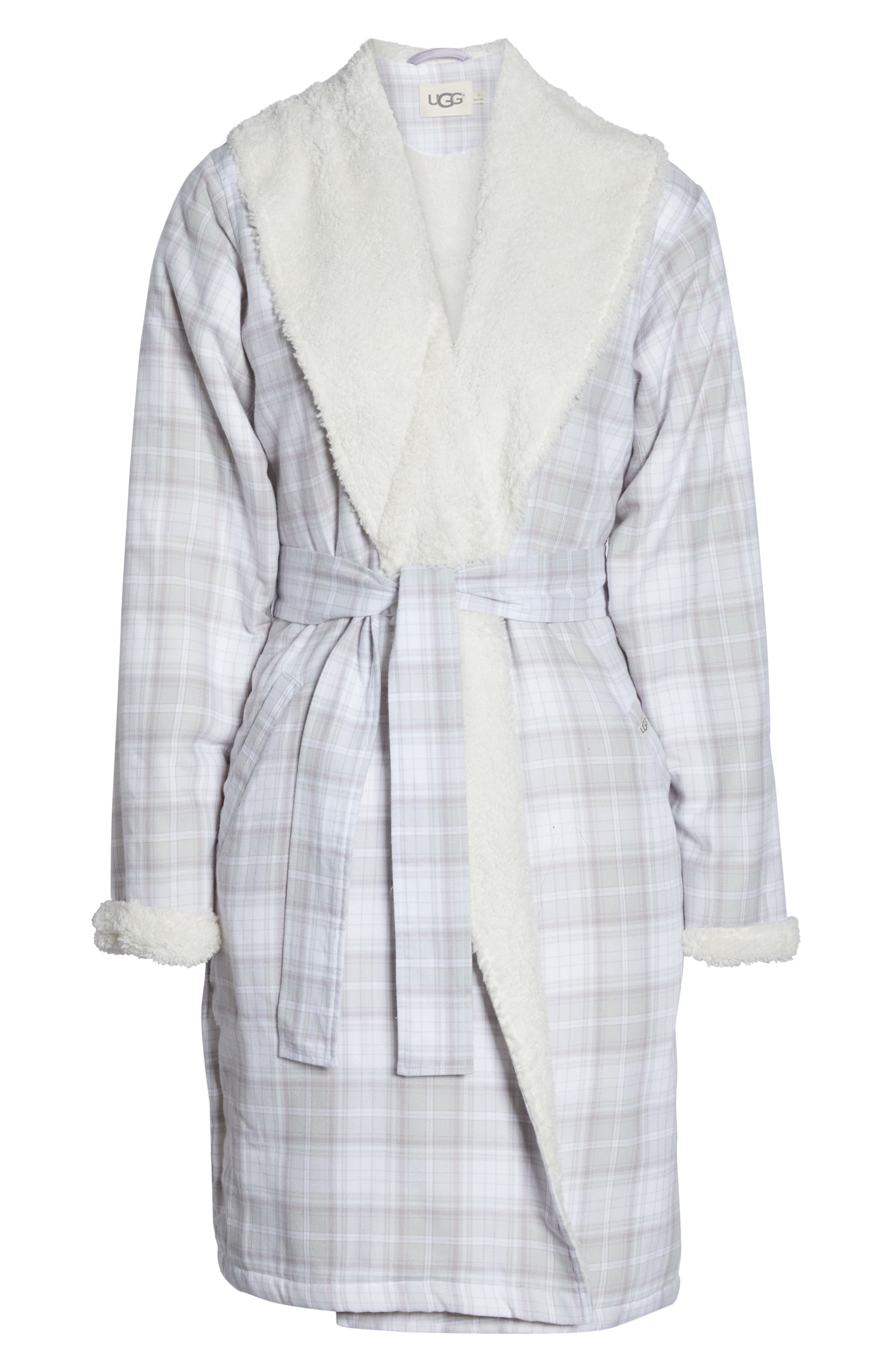 Anika Fleece Lined Flannel Robe,                             Alternate thumbnail 6, color,                             LAVENDER AURA PLAID