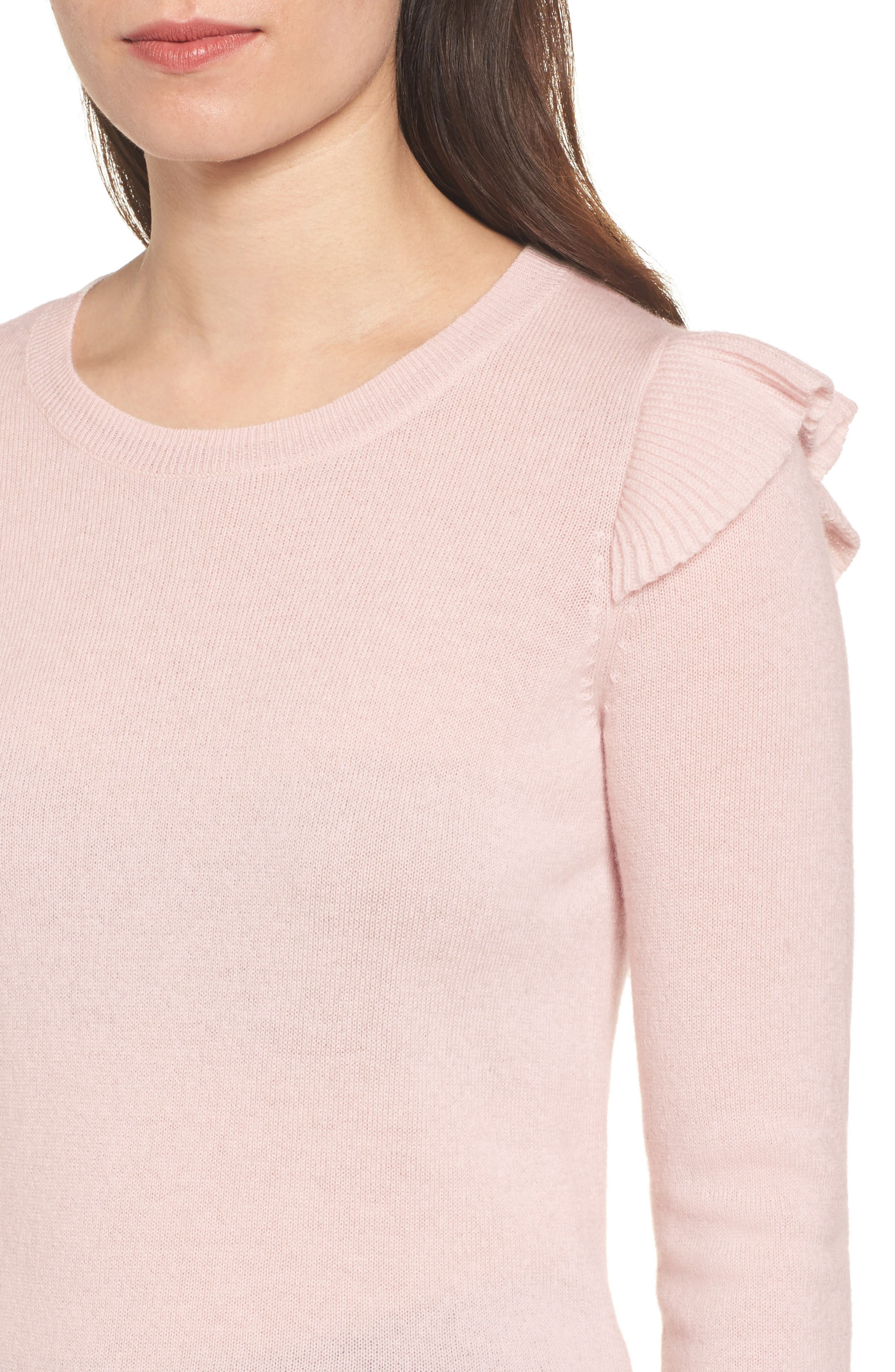 Regina Ruffle Wool & Cashmere Sweater,                             Alternate thumbnail 8, color,