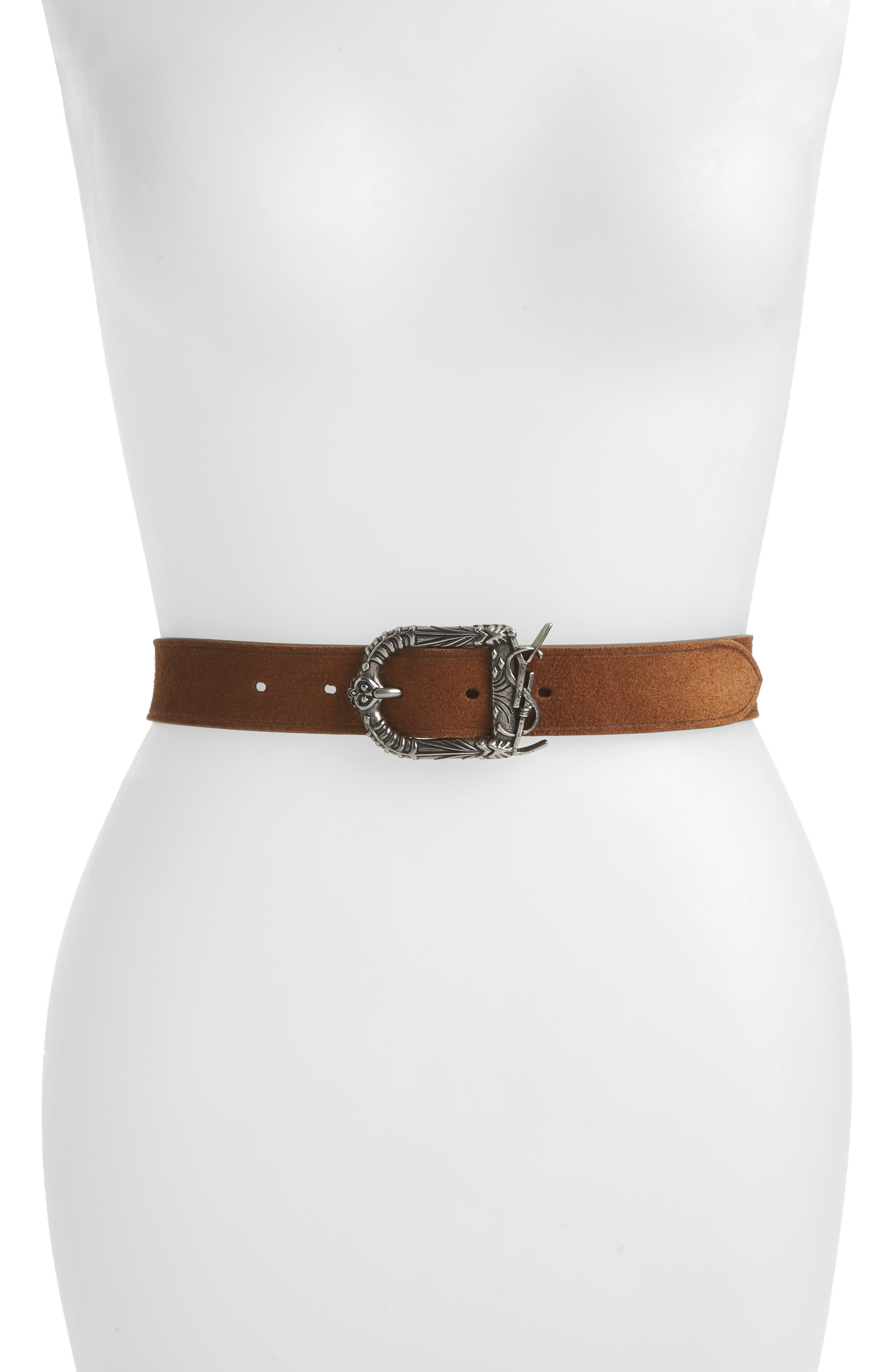Saint Laurent Celtic Monogram Leather Belt, Moka Tan