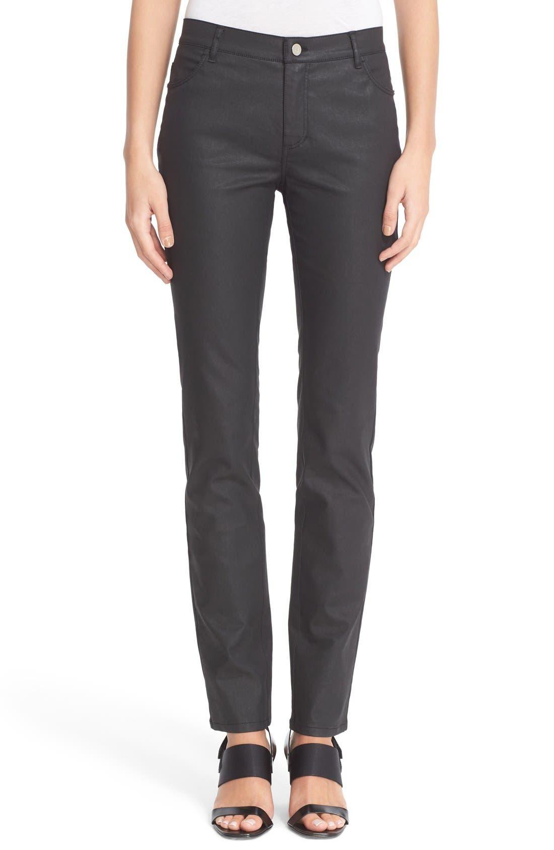 Waxed Denim Slim Leg Jeans,                             Main thumbnail 1, color,                             BLACK