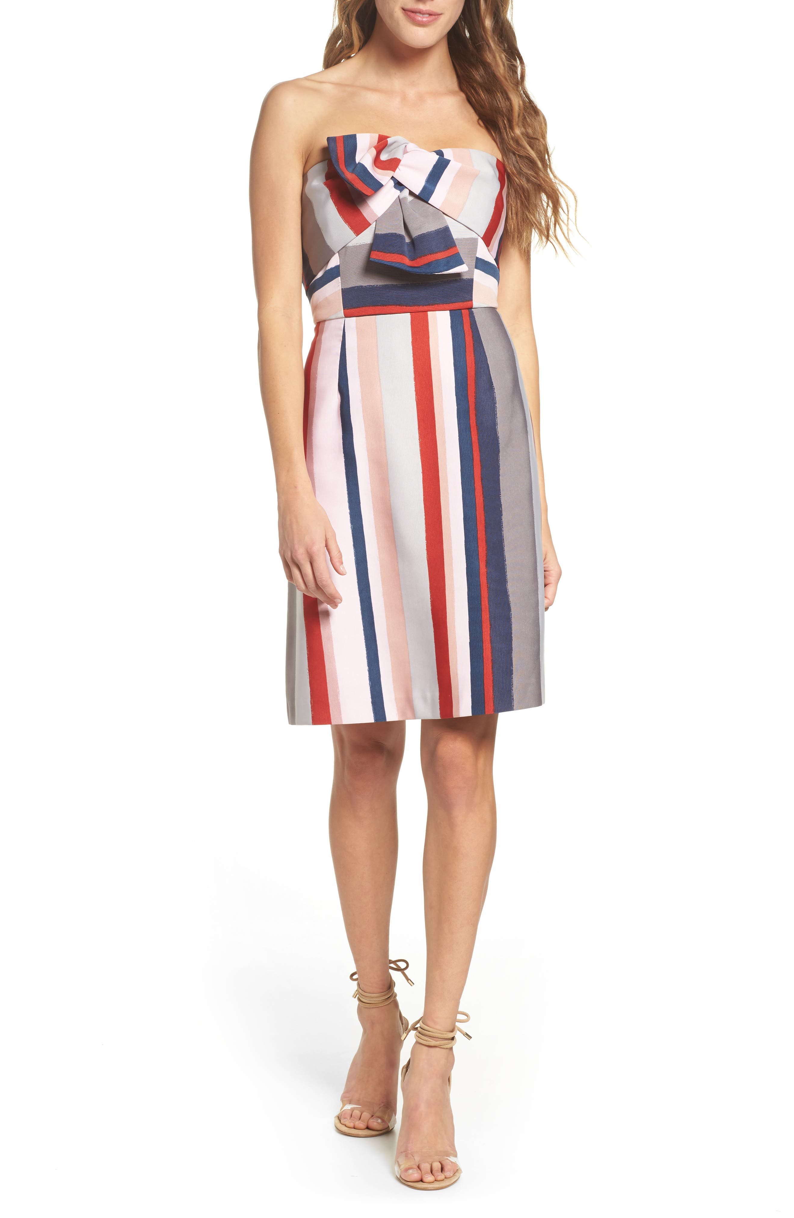 Stripe Strapless Dress,                         Main,                         color, PINK/ GREY