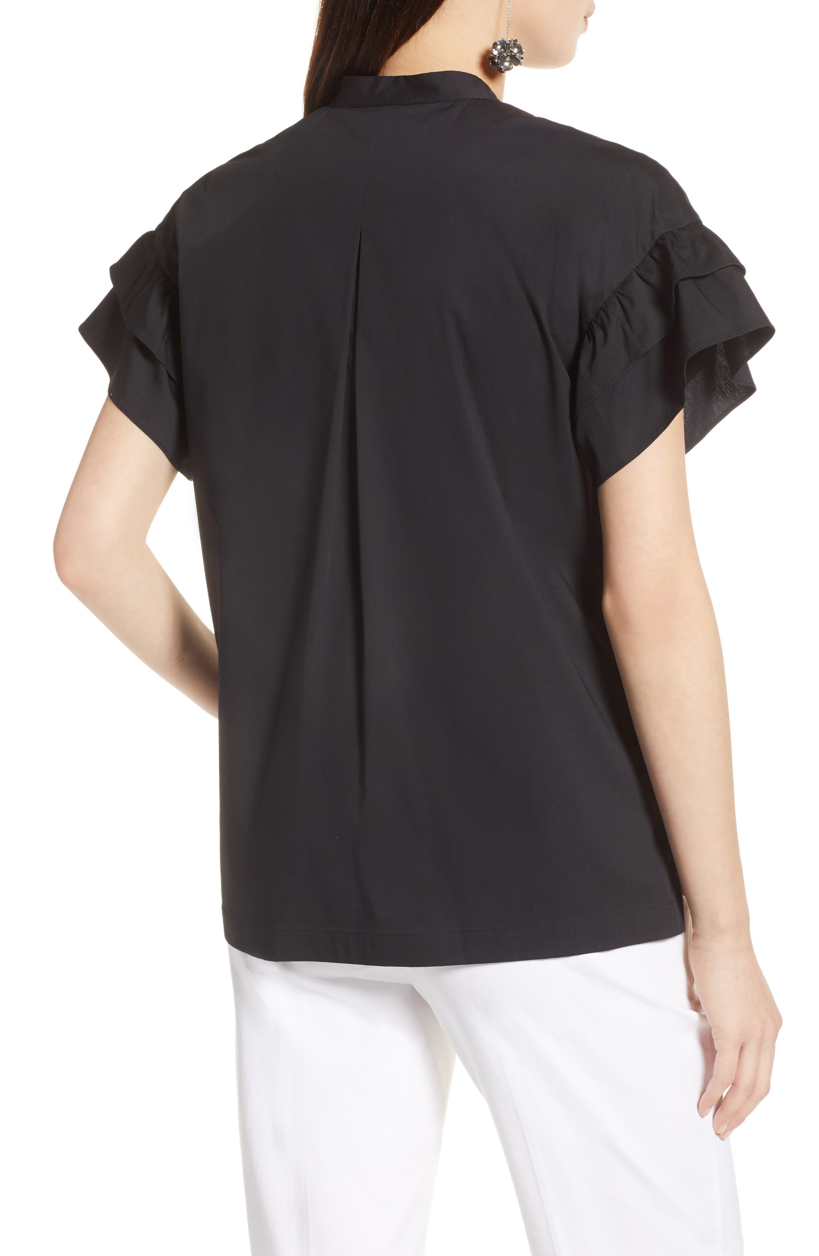 Ruffle Sleeve Stretch Cotton Blend Blouse,                             Alternate thumbnail 6, color,