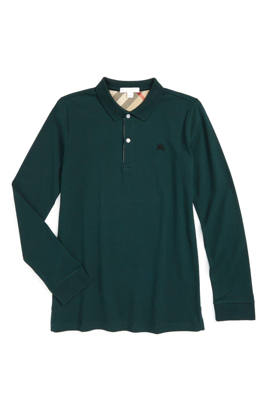 'Mini' Long Sleeve Polo Shirt,                         Main,                         color, 310