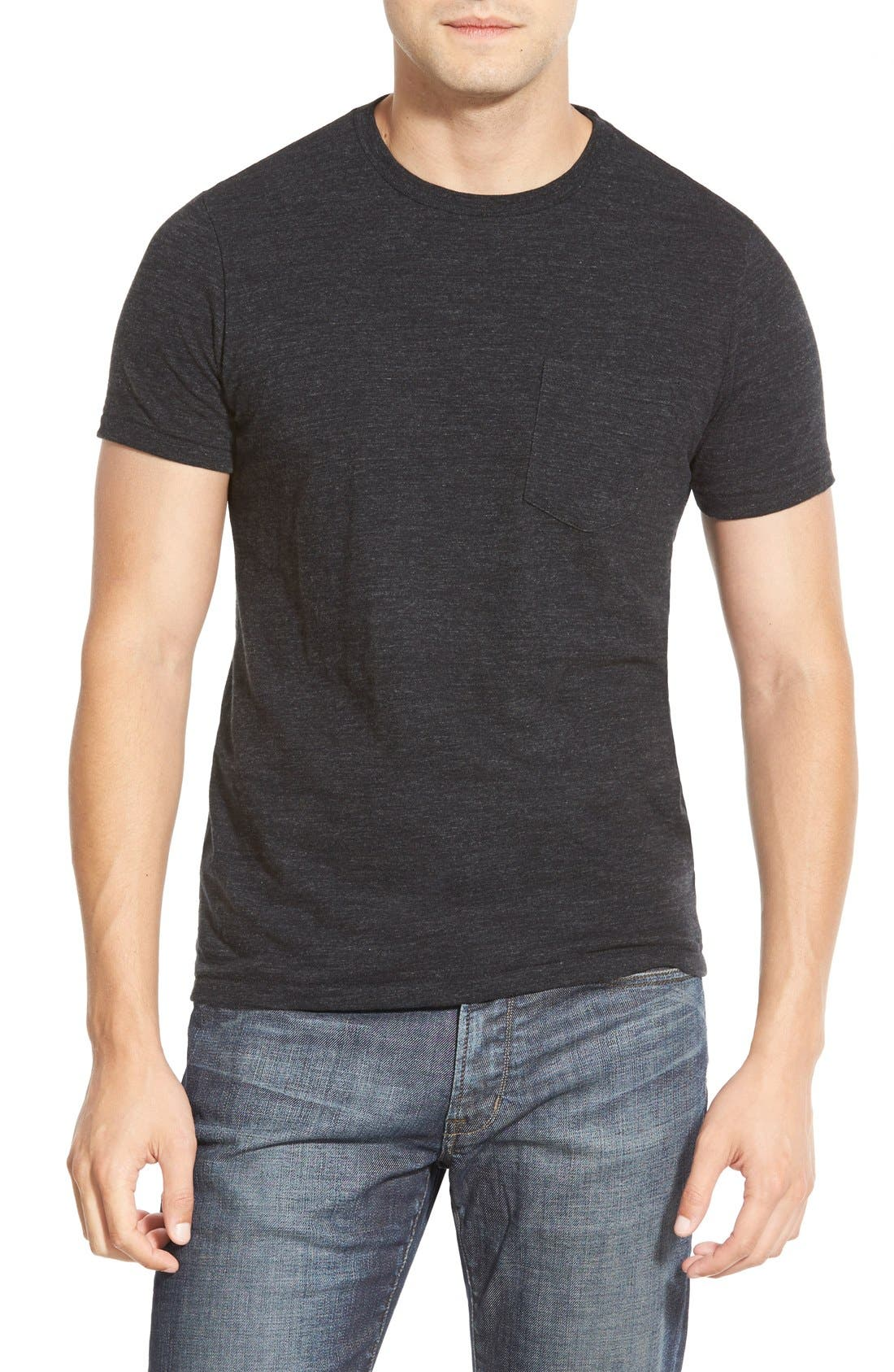 Double Face Jersey Pocket Crewneck T-Shirt,                         Main,                         color, 001