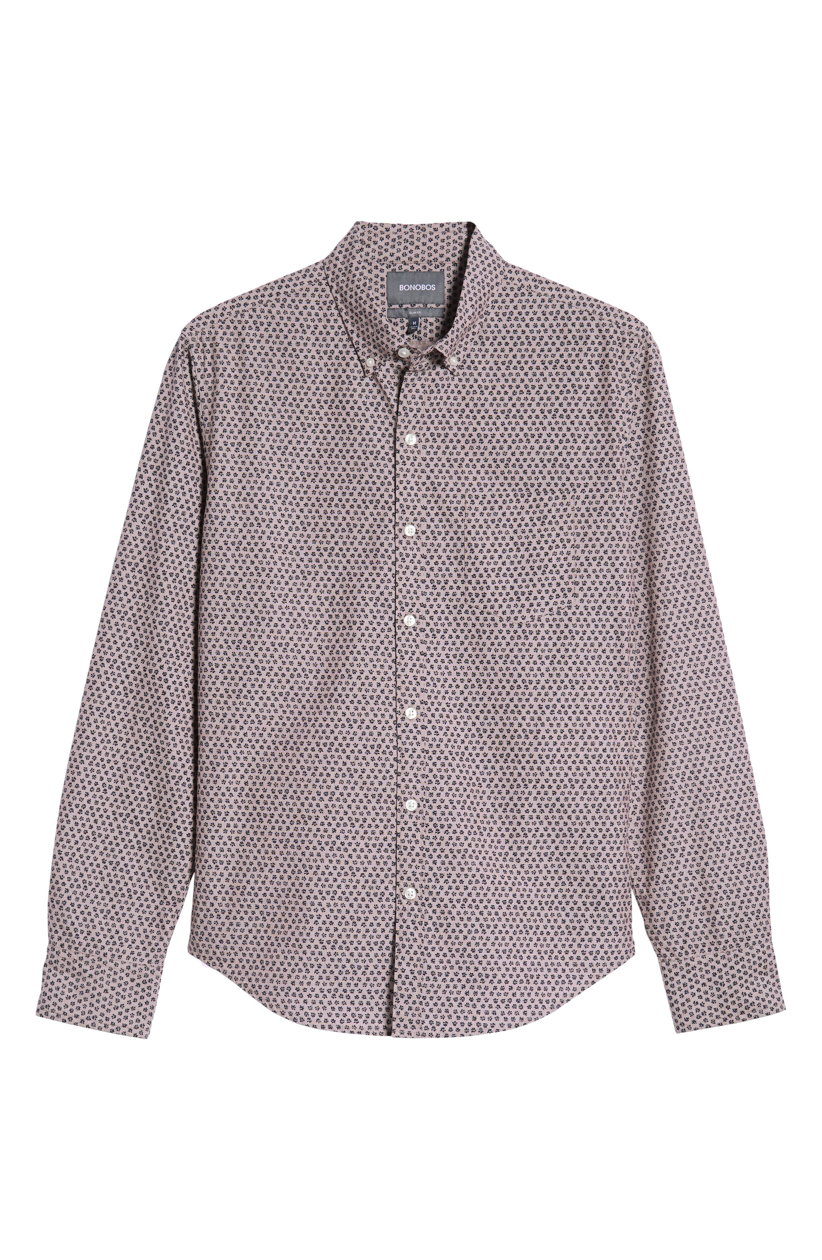 Washed Button Down Slim Fit Print Sport Shirt,                             Alternate thumbnail 6, color,                             HIGHLAND FLORAL - BEAR BERRY