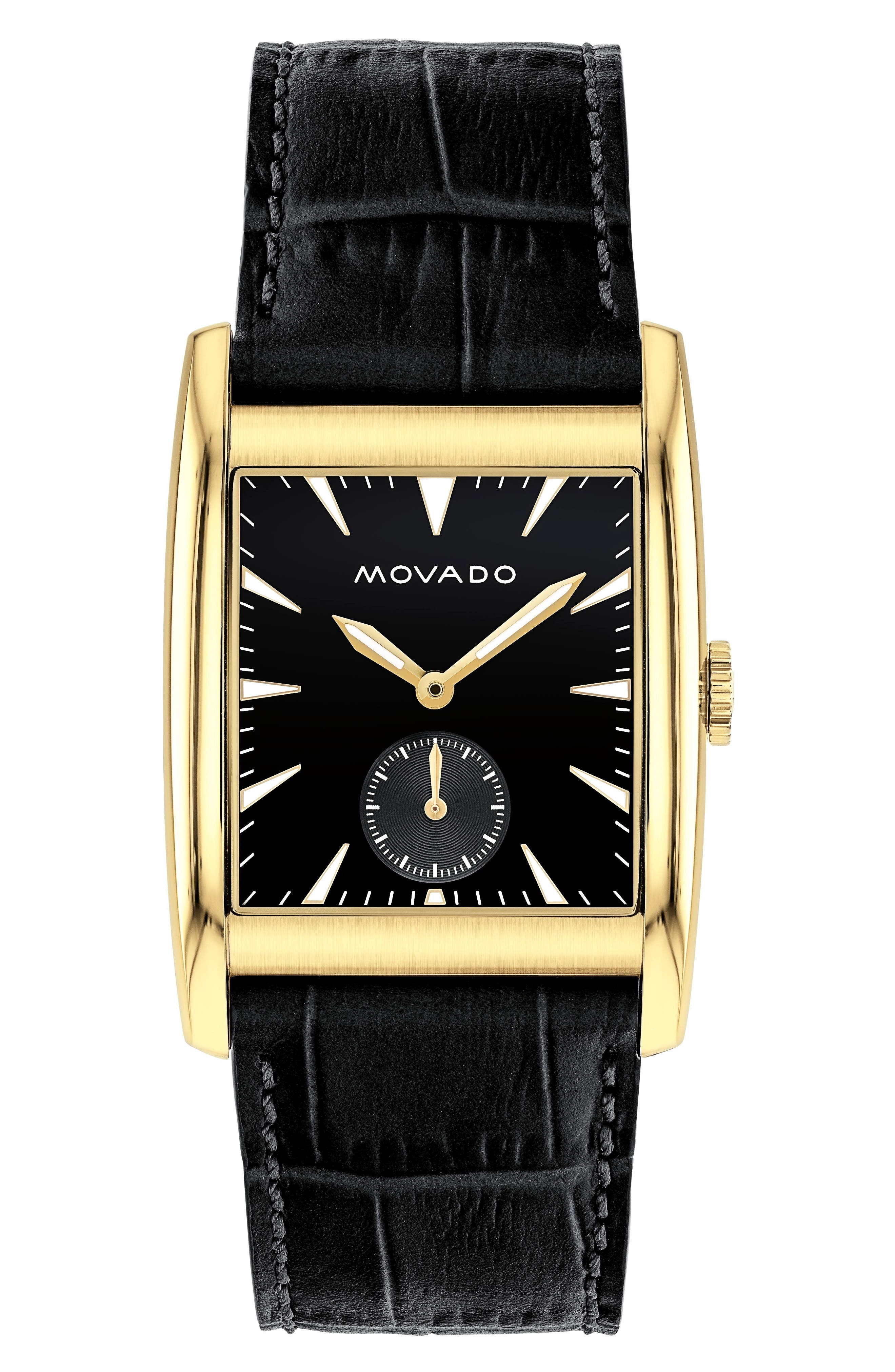 Heritage Leather Strap Watch, 41mm,                         Main,                         color, BLACK/ GOLD