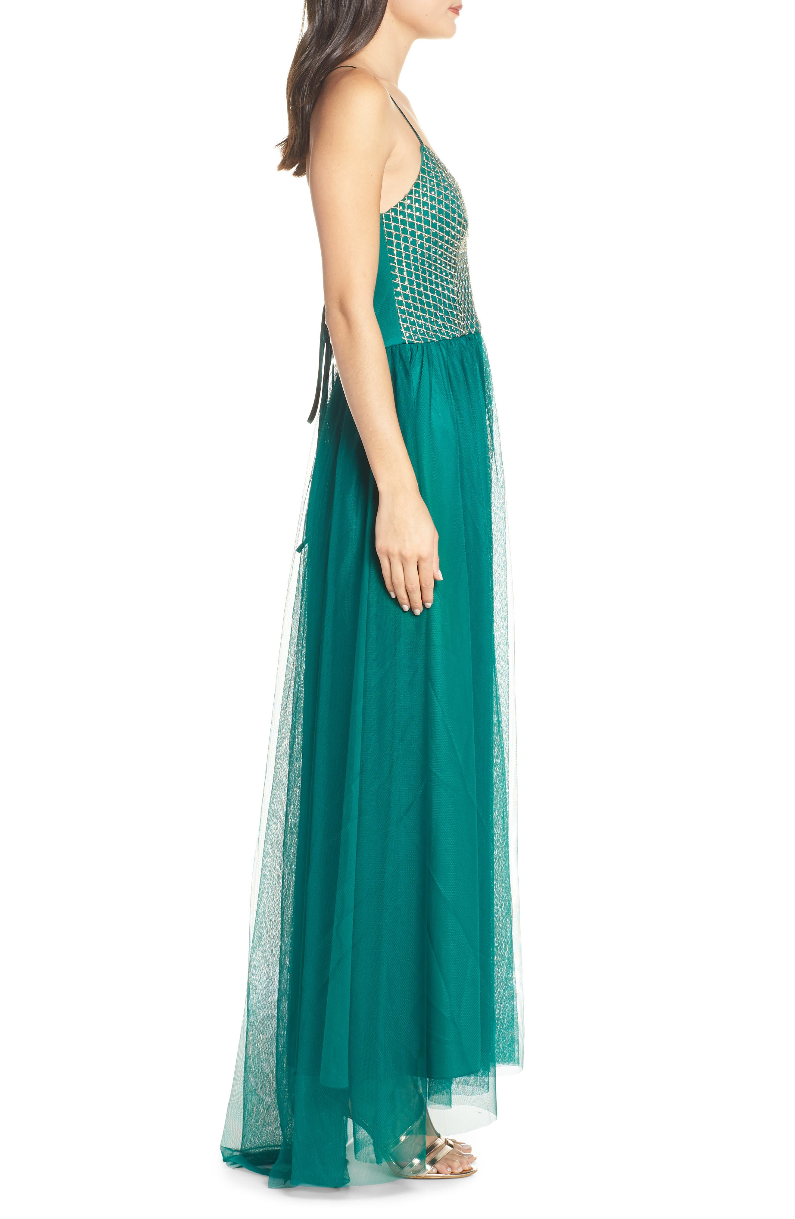 Embellished Bodice Gown,                             Alternate thumbnail 3, color,                             EVERGREEN