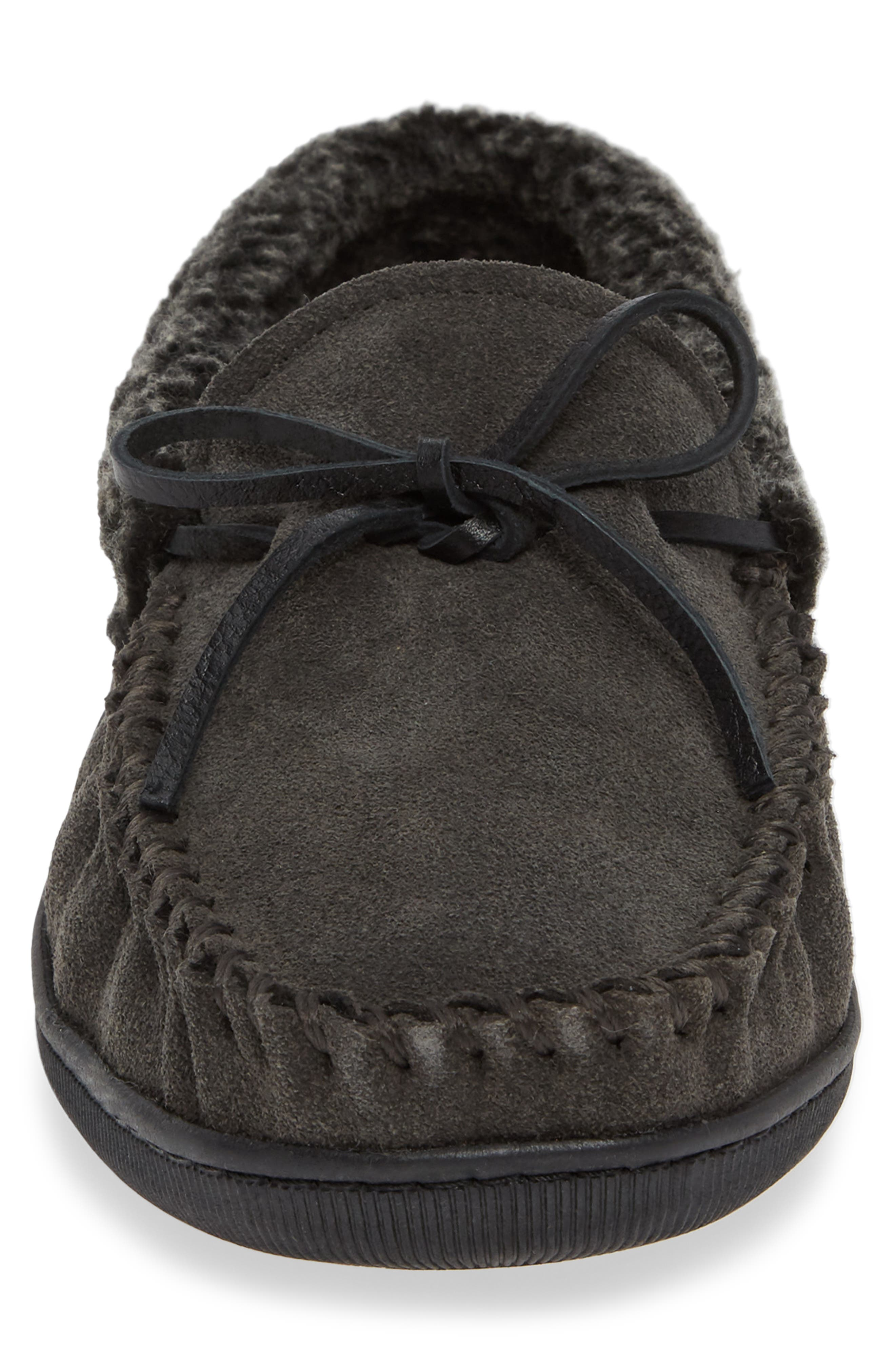 Allen Moccasin Slipper,                             Alternate thumbnail 4, color,                             CHARCOAL SUEDE