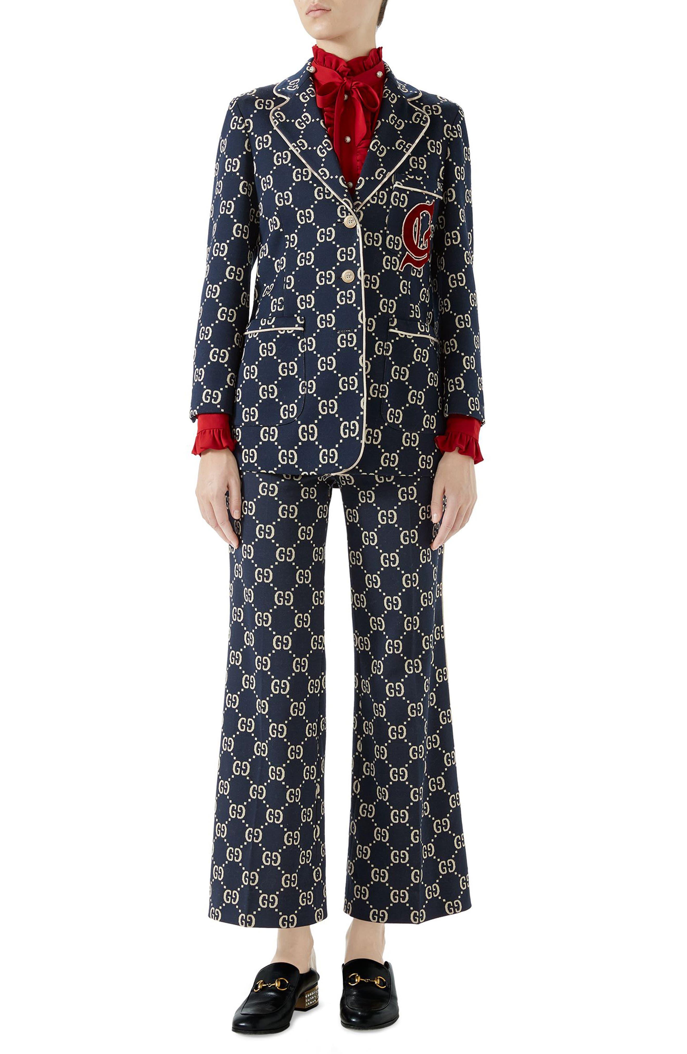 GG Embroidered Jersey Blazer,                             Alternate thumbnail 5, color,                             CASPIAN/ MULTICOLOR