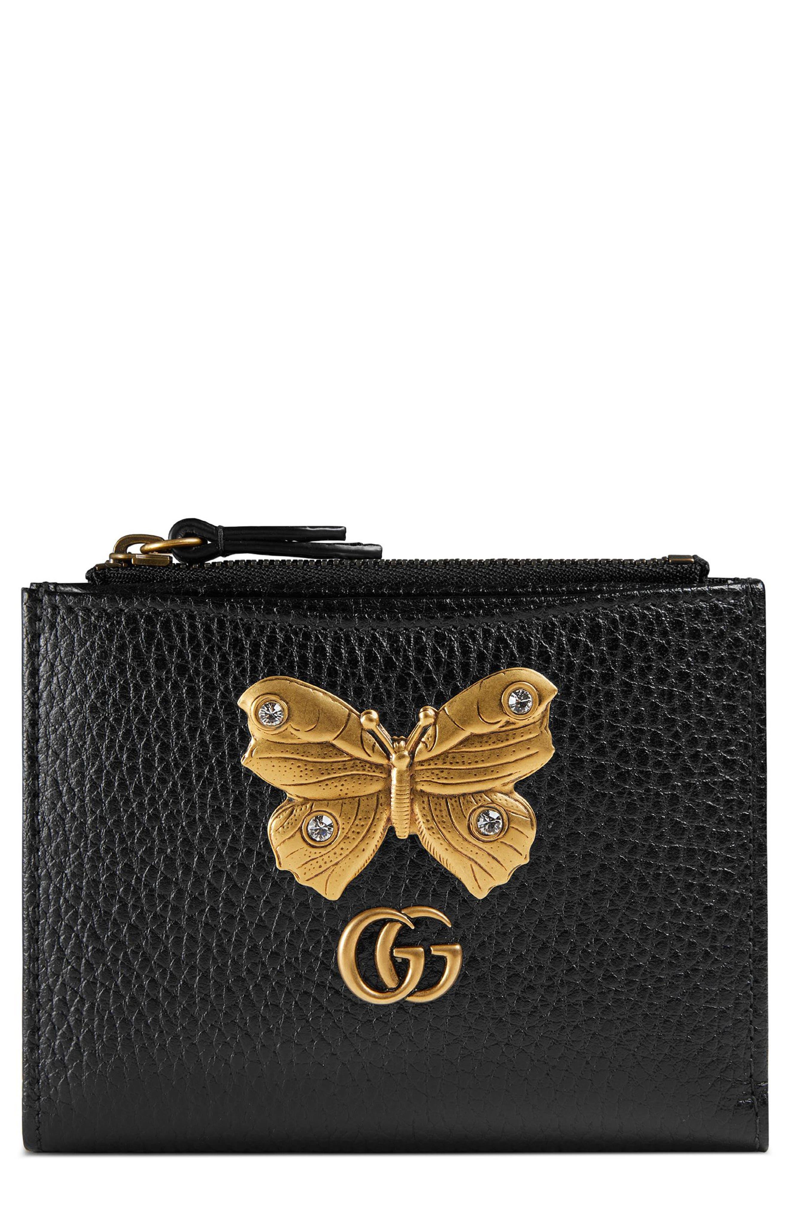 Farfalla Leather Wallet,                         Main,                         color, NERO/ CRYSTAL