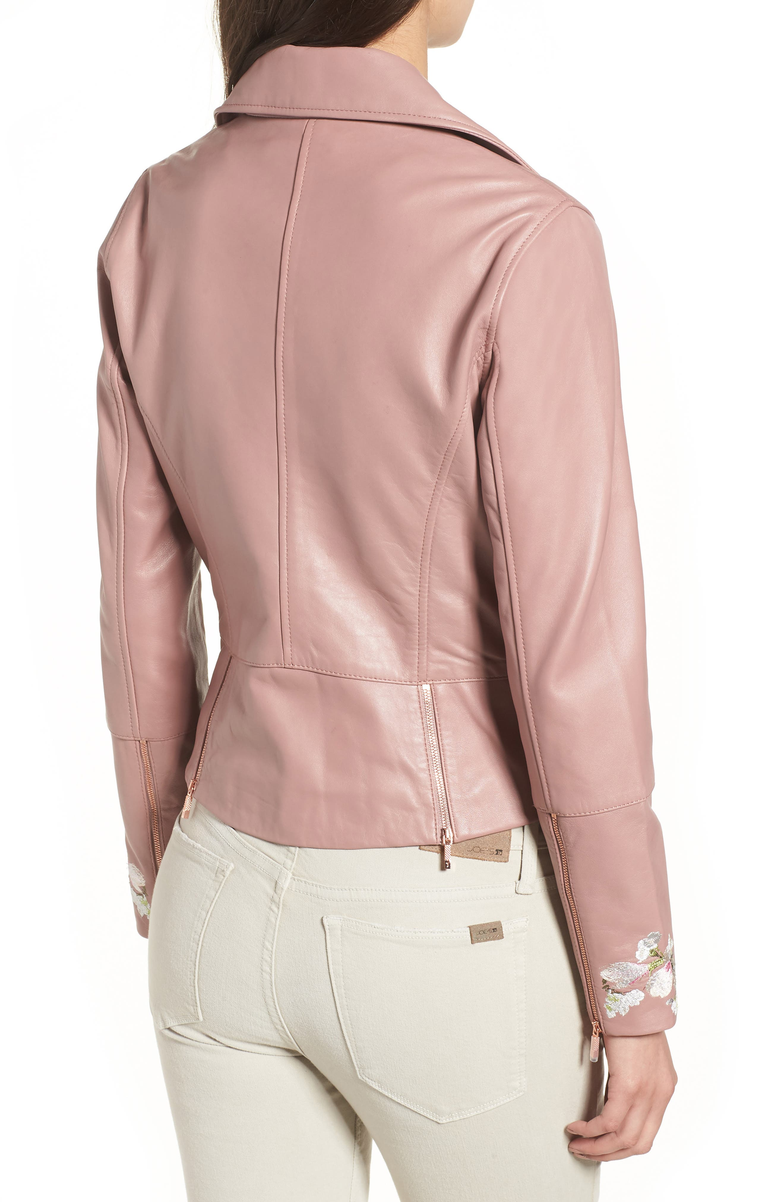 Harmony Embroidered Leather Biker Jacket,                             Alternate thumbnail 2, color,                             652