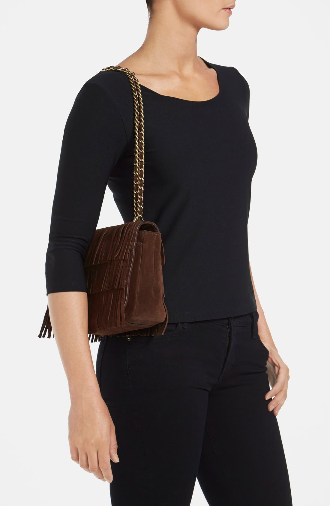 TORY BURCH,                             Fringe Shoulder Bag,                             Alternate thumbnail 3, color,                             201