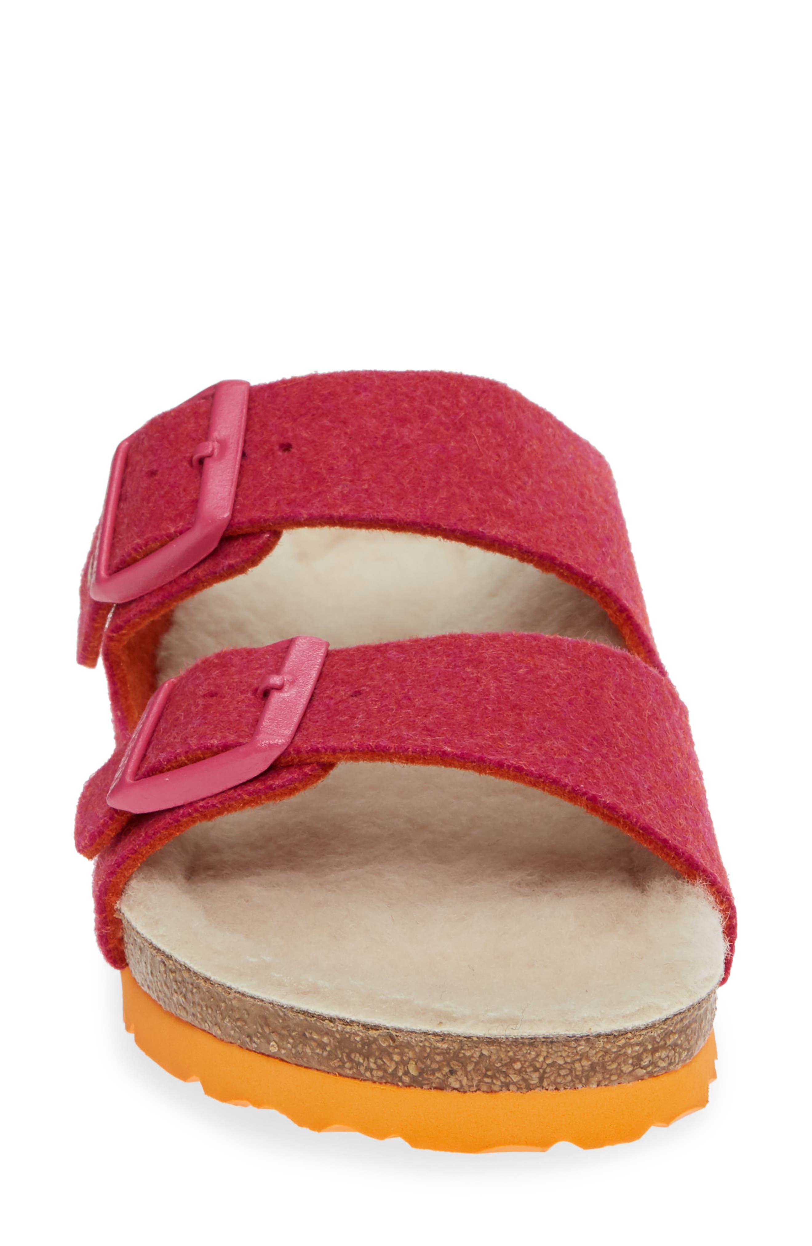 Arizona Happy Slide Sandal,                             Alternate thumbnail 4, color,                             FUCHSIA WOOL