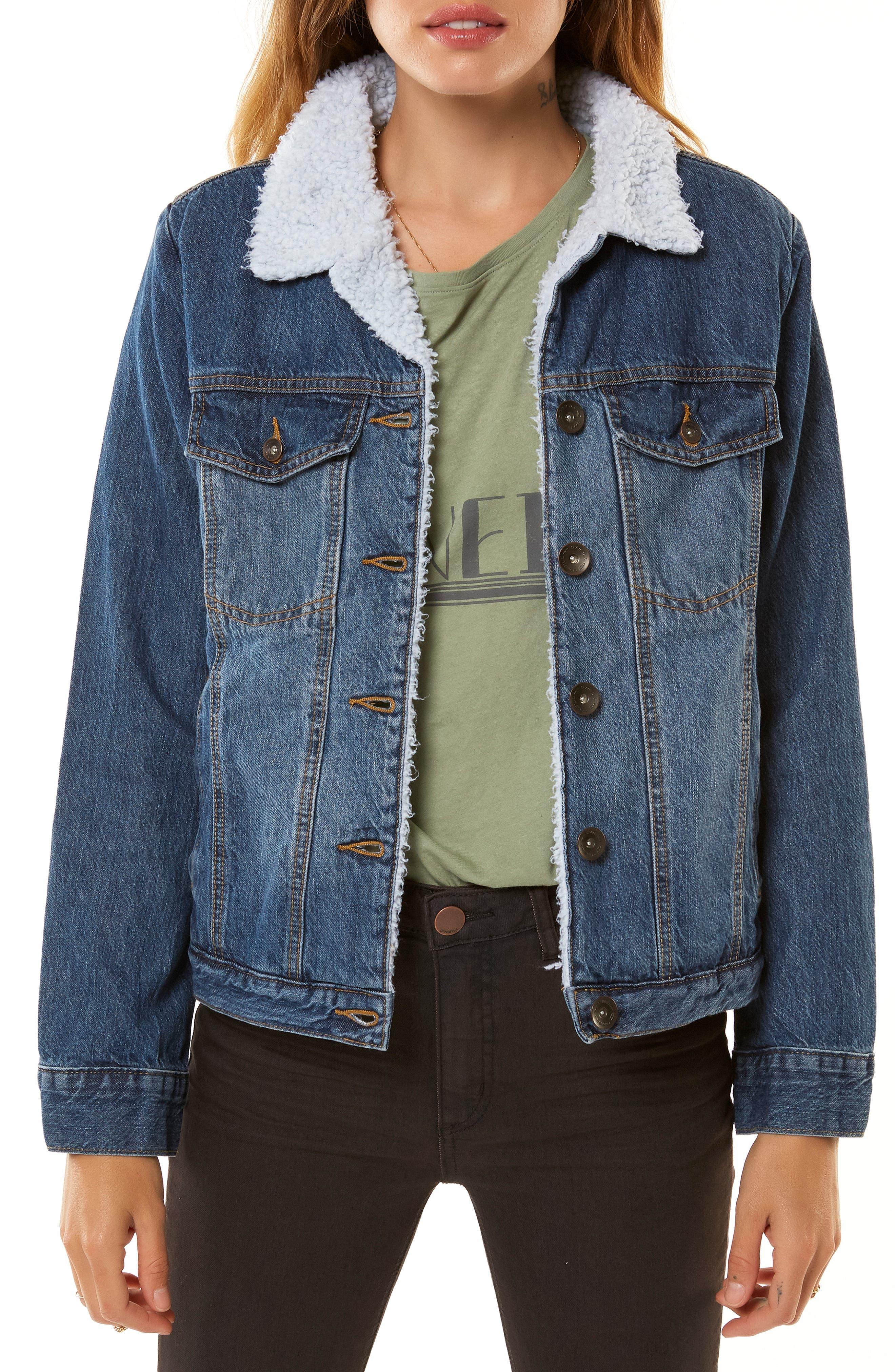 Clemente Fleece Lined Denim Jacket, Main, color, 400