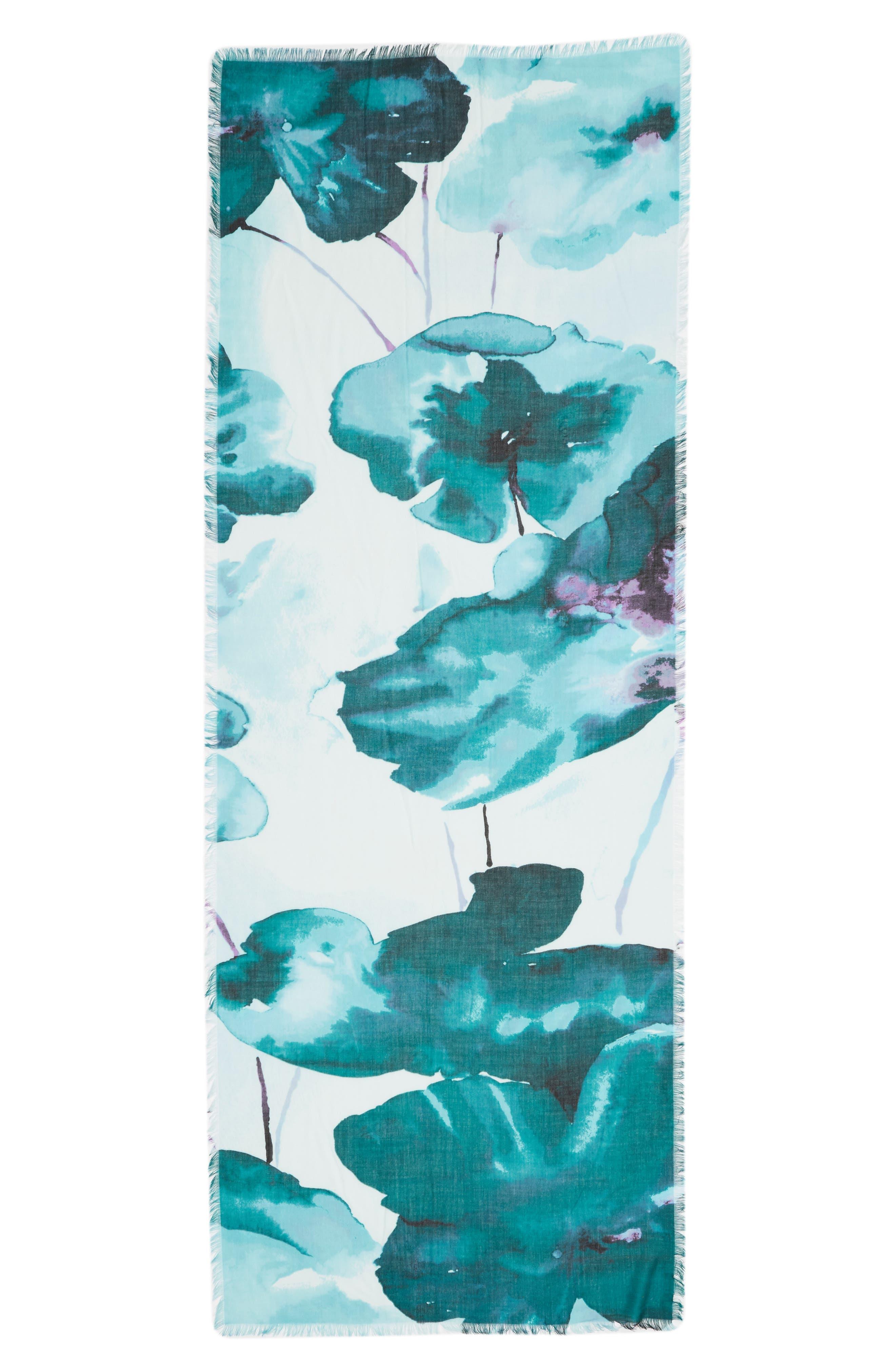 Eyelash Trim Print Cashmere & Silk Wrap,                             Alternate thumbnail 76, color,